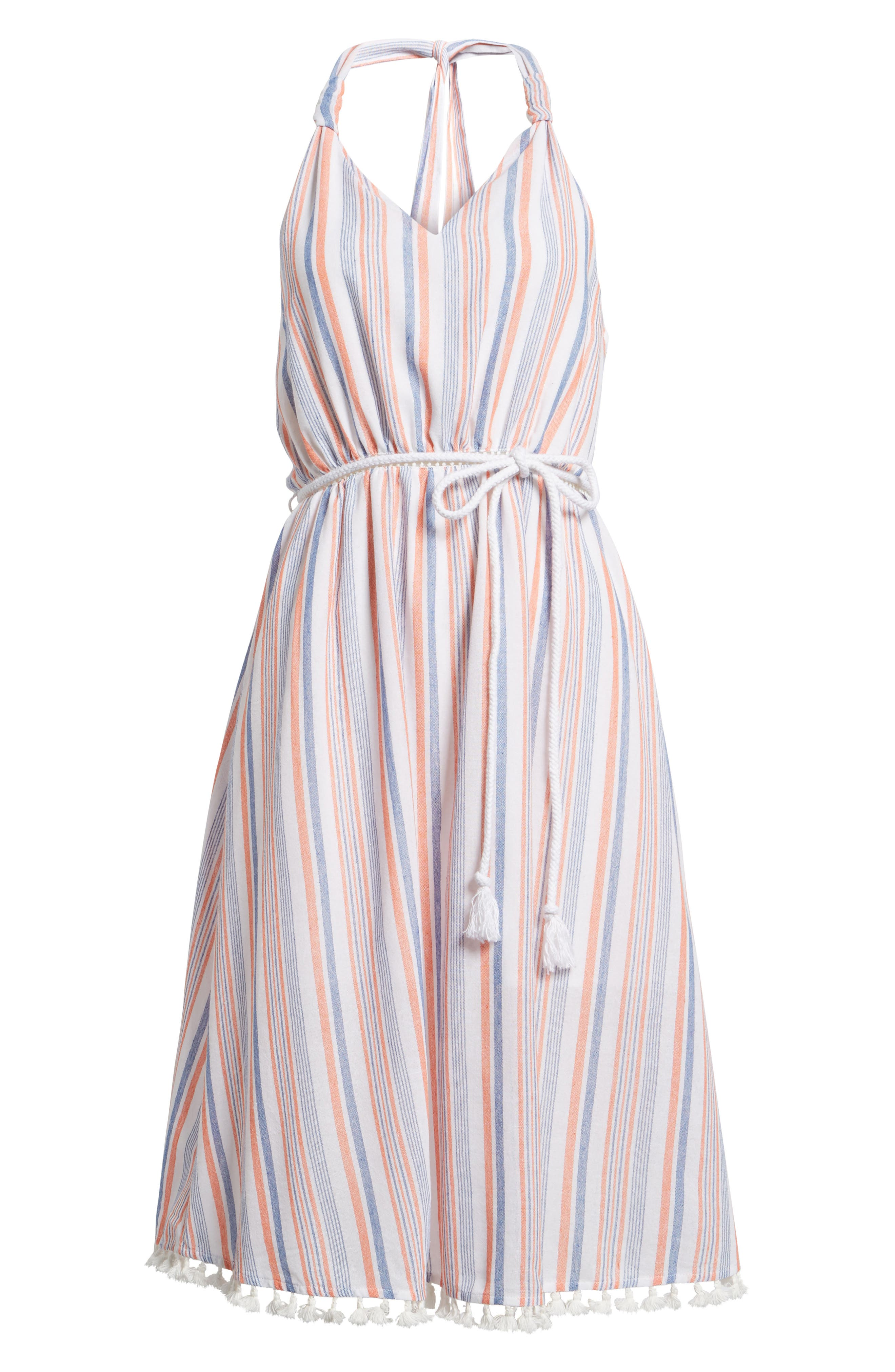 Stripe Halter Dress,                             Alternate thumbnail 7, color,                             Coral Stripe
