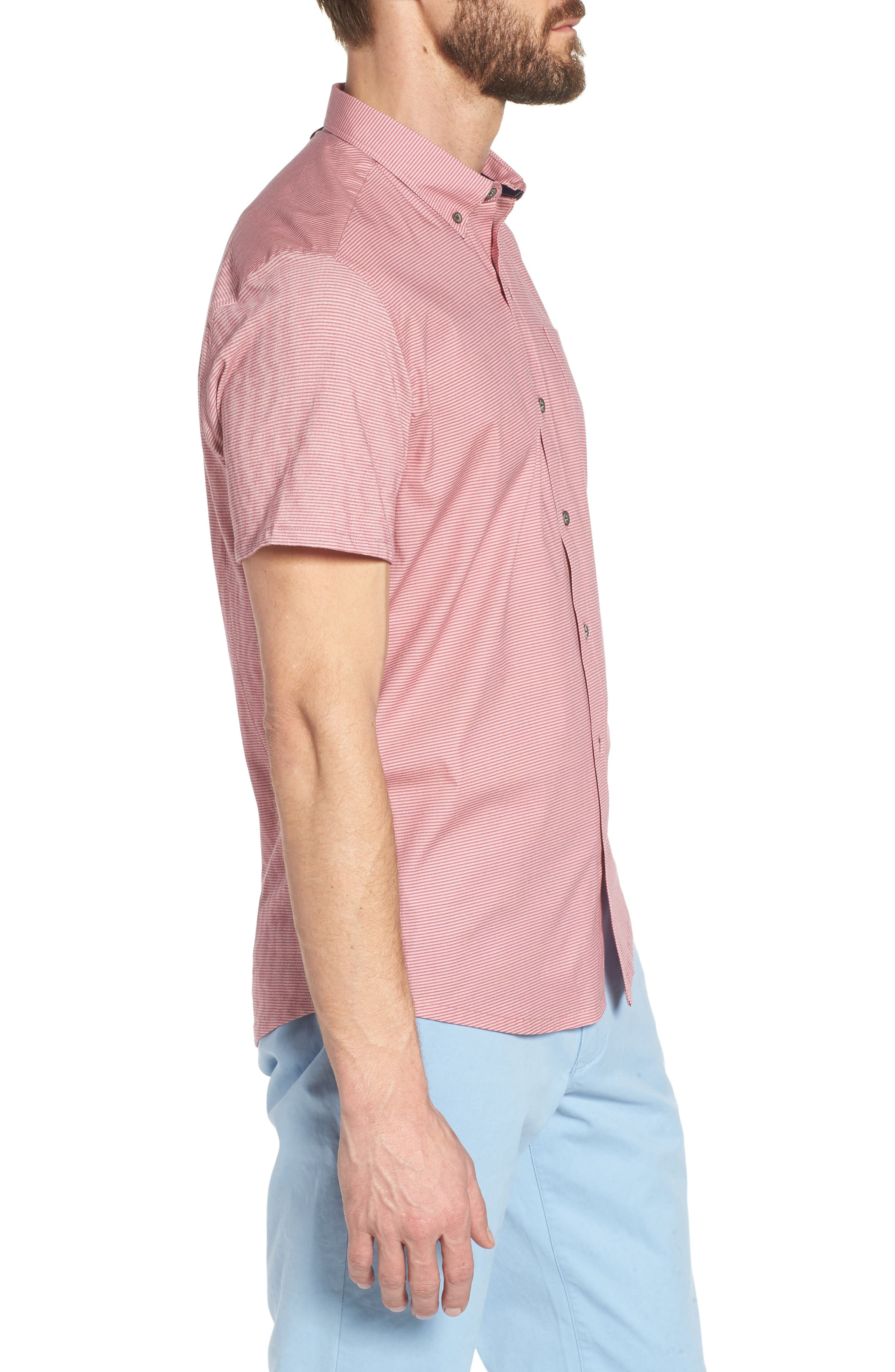 Reworked Slim Fit Micro Stripe Sport Shirt,                             Alternate thumbnail 3, color,                             Pink