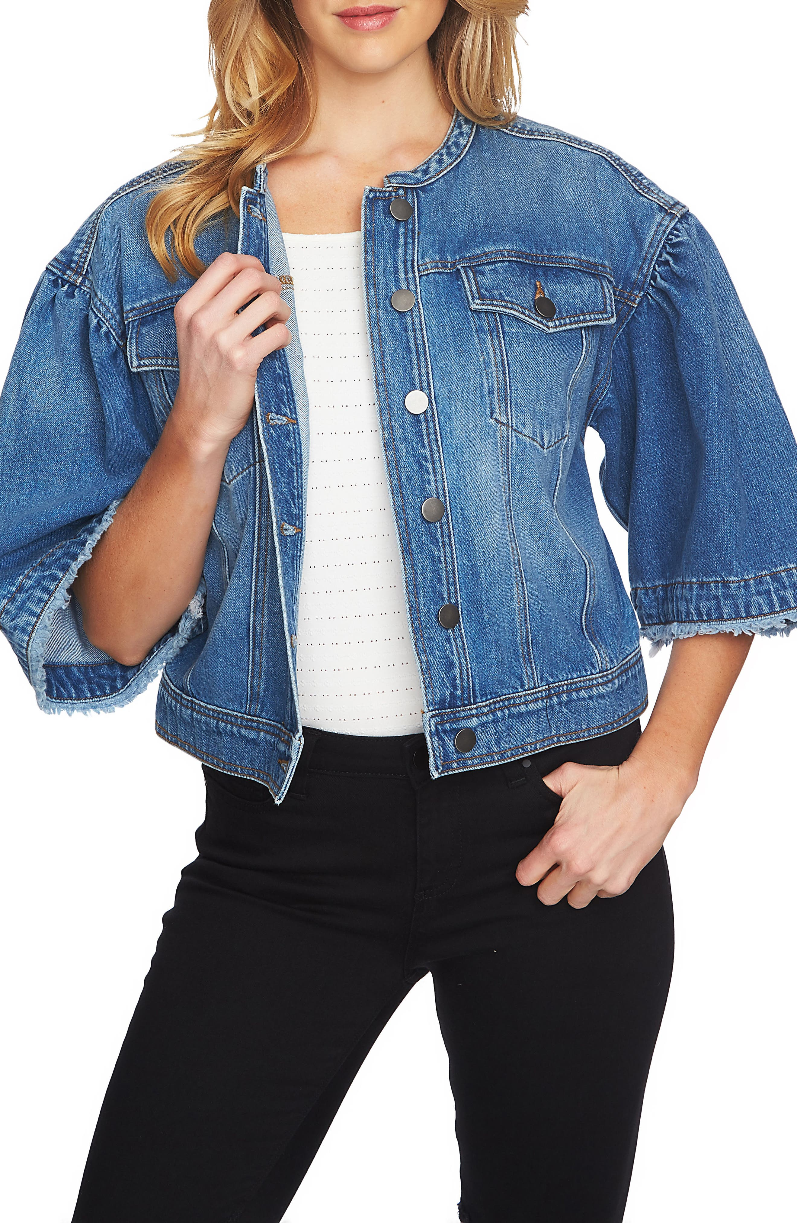 1.STATE Collarless Wide Sleeve Denim Jacket