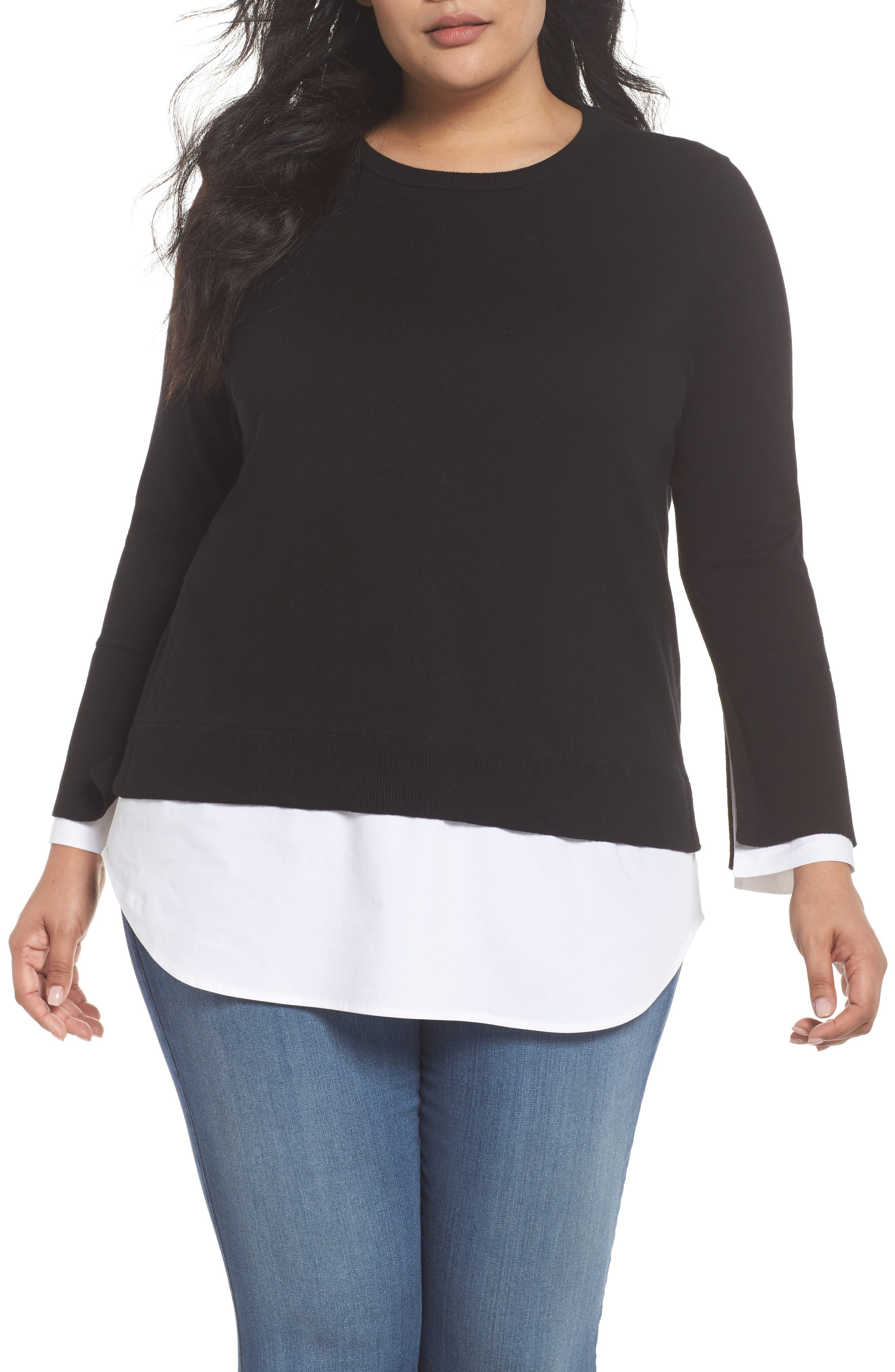 Layered Look Sweater,                             Main thumbnail 1, color,                             Rich Black