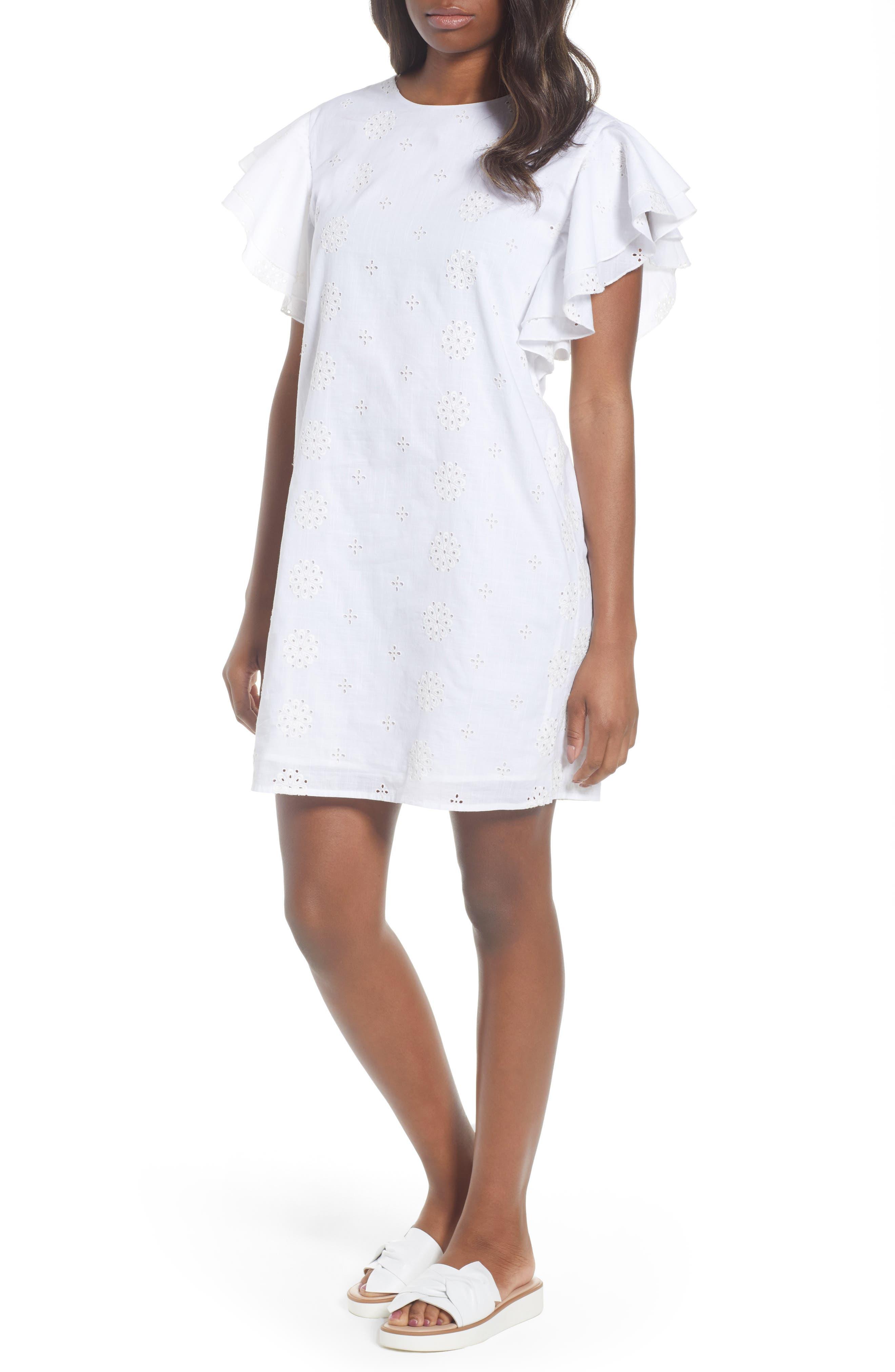 Eyelet Flutter Sleeve Cotton Dress,                             Main thumbnail 1, color,                             White Cap