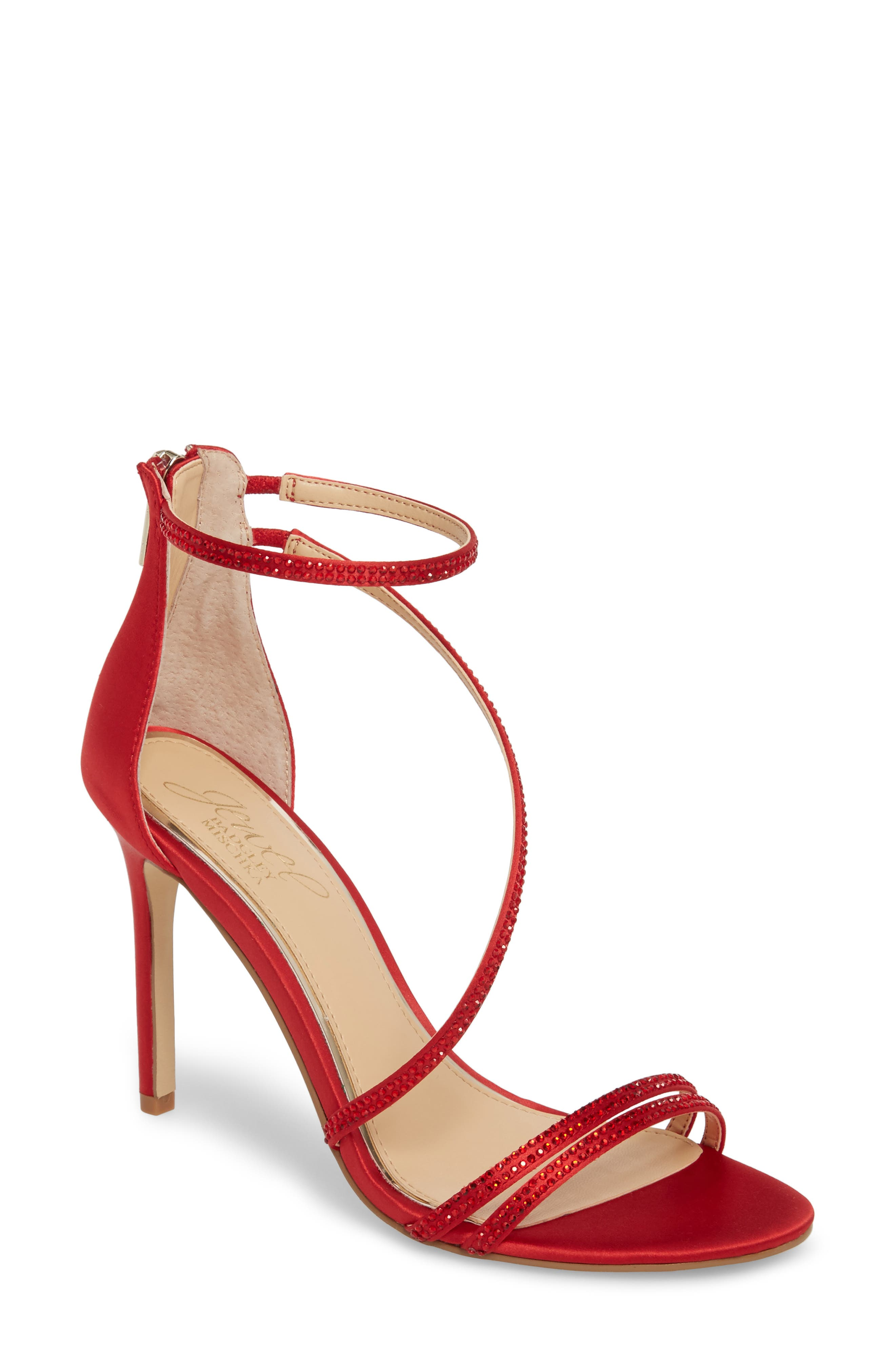 Gail Crystal Embellished Sandal,                             Main thumbnail 1, color,                             Red Satin