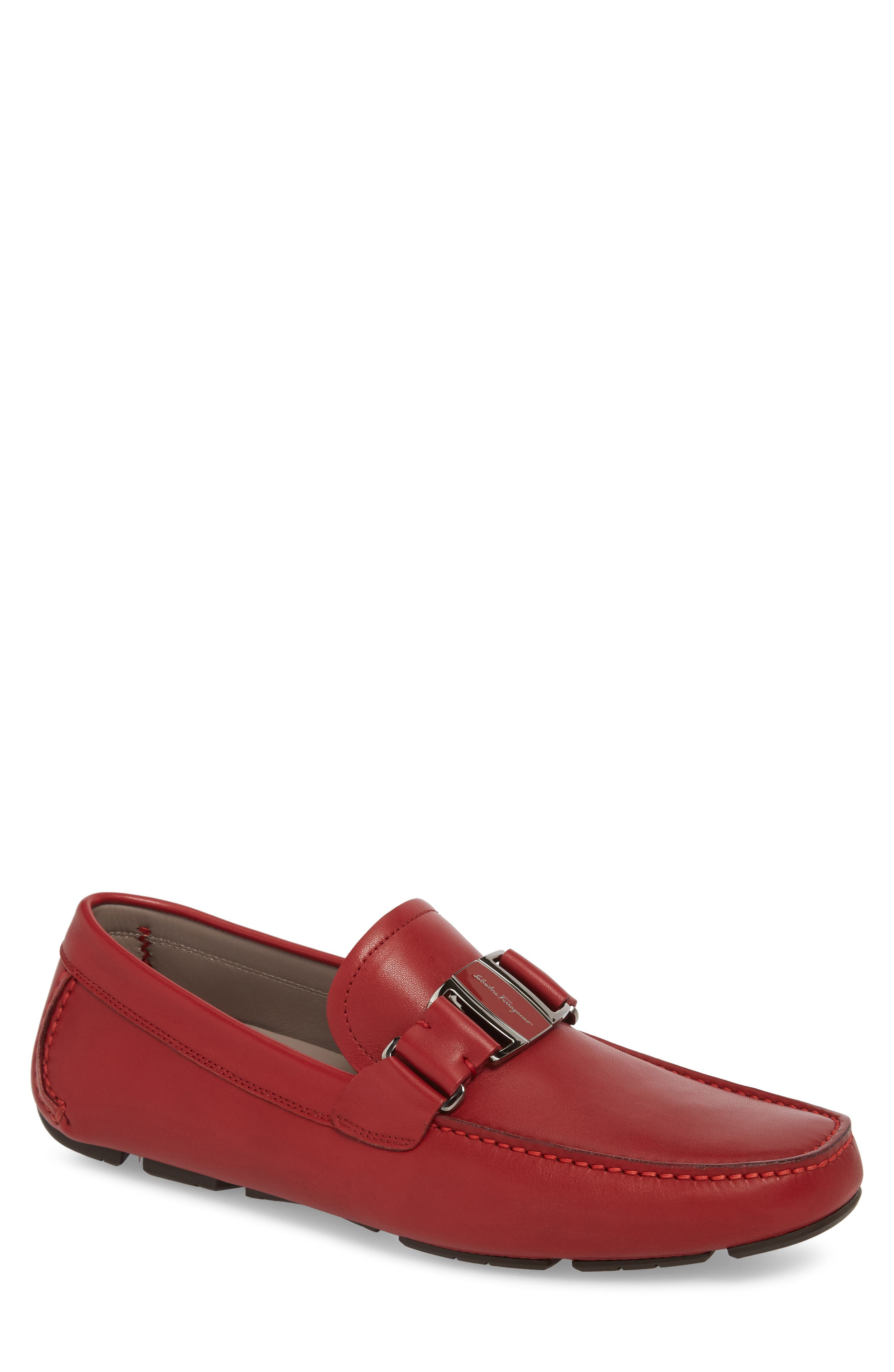 Sardegna Driving Shoe,                             Main thumbnail 1, color,                             Red Leather