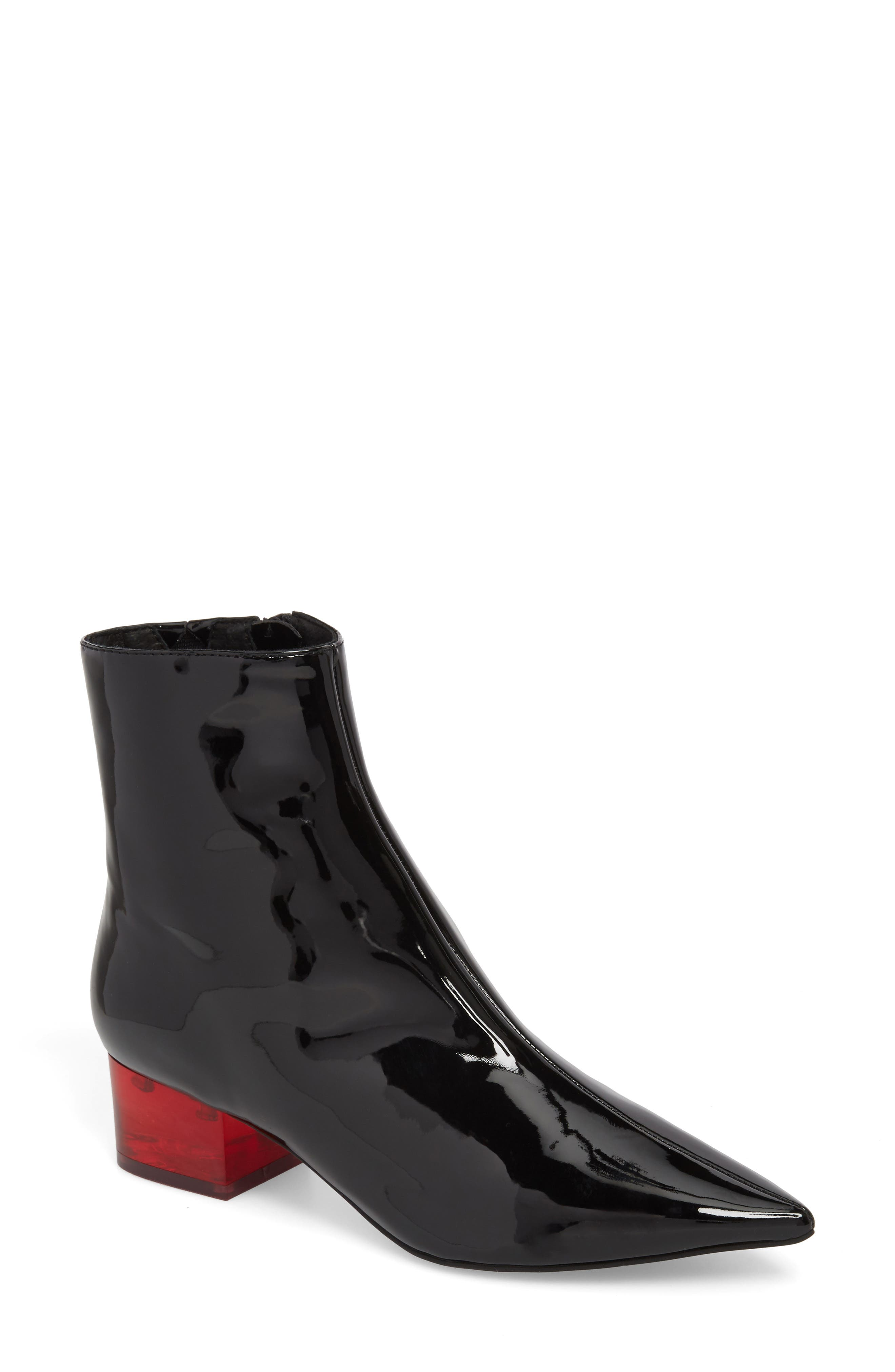 Luminous Statement Heel Bootie,                             Main thumbnail 1, color,                             Black/ Red Patent Leather