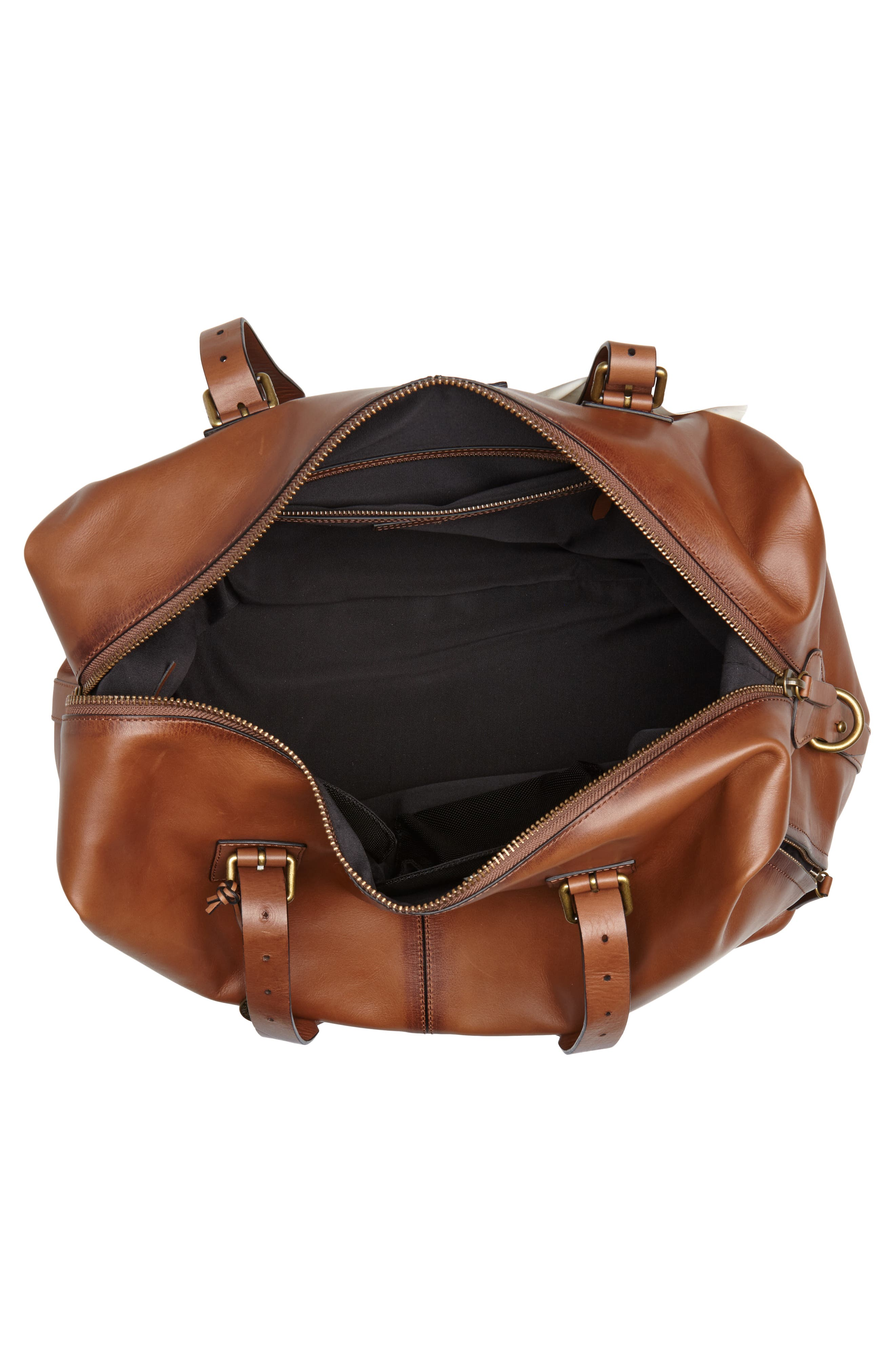 Heritage Leather Duffel Bag,                             Alternate thumbnail 4, color,                             Brownstone
