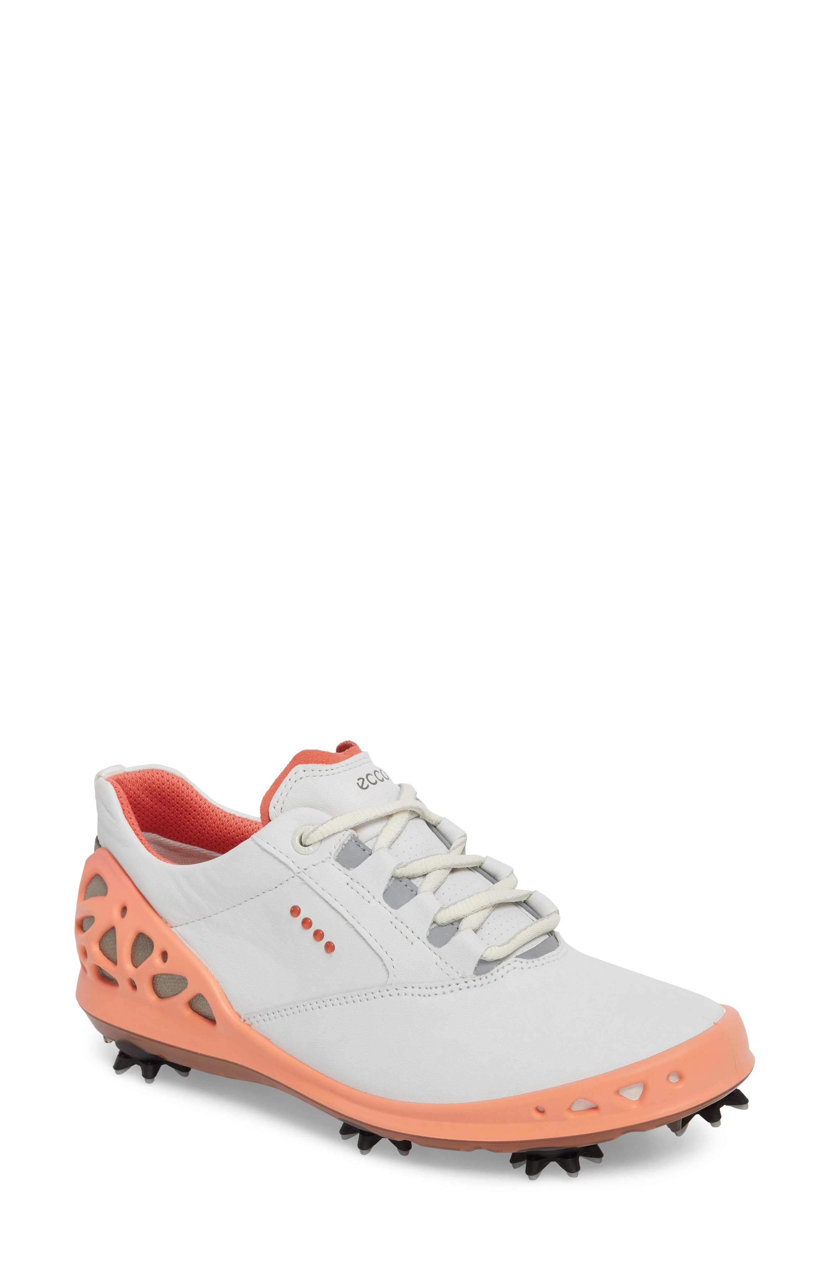 Cage Gore-Tex<sup>®</sup> Golf Shoe,                             Main thumbnail 1, color,                             White/ Coral Leather