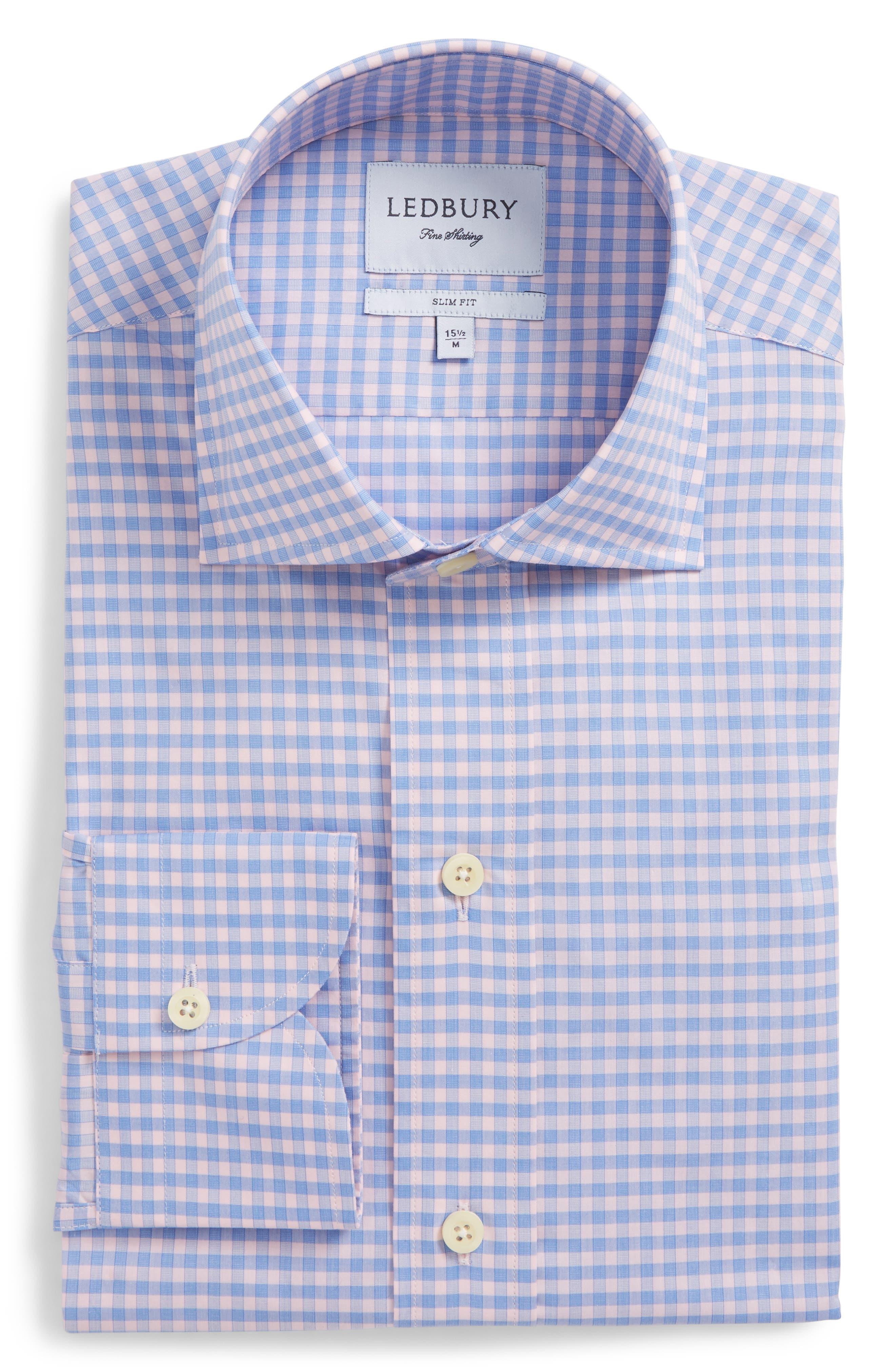 Prestwick Slim Fit Check Dress Shirt,                             Alternate thumbnail 6, color,                             Pink
