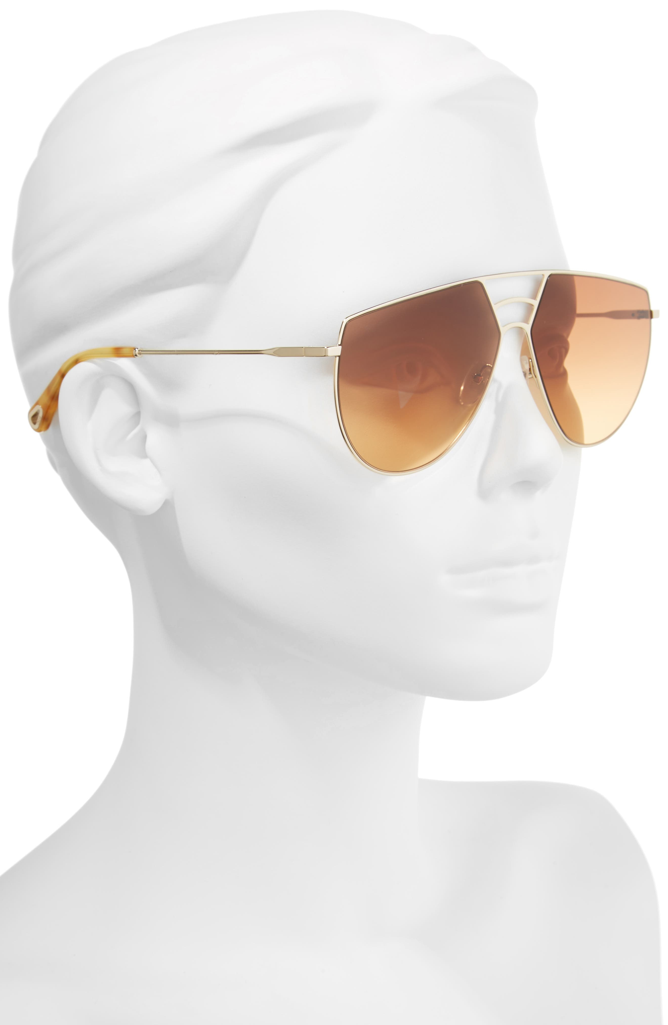 Negative Space 62mm Oversize Aviator Sunglasses,                             Alternate thumbnail 2, color,                             Gold/ Burnt