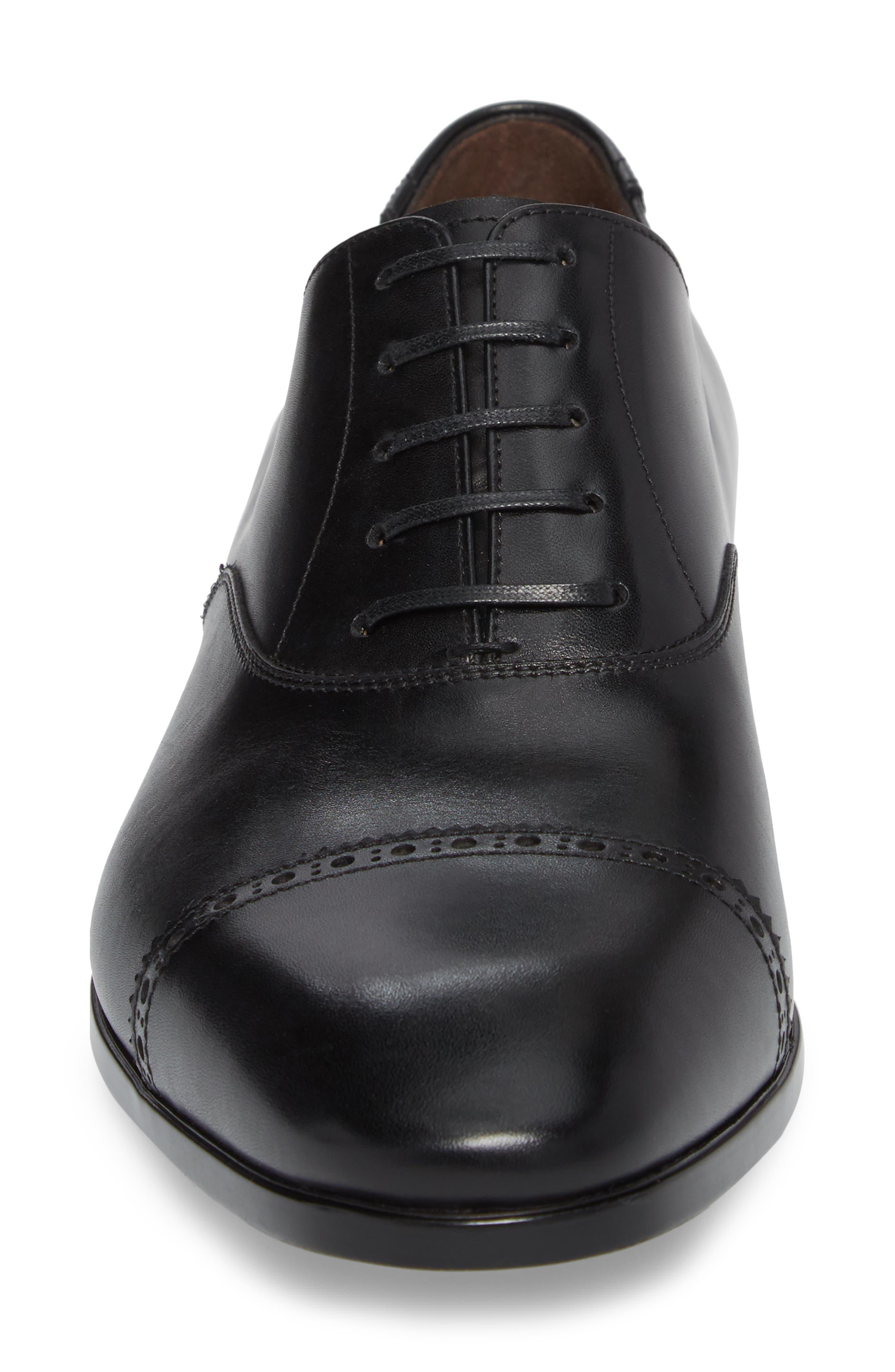 Boston Cap Toe Oxford,                             Alternate thumbnail 4, color,                             Nero Leather