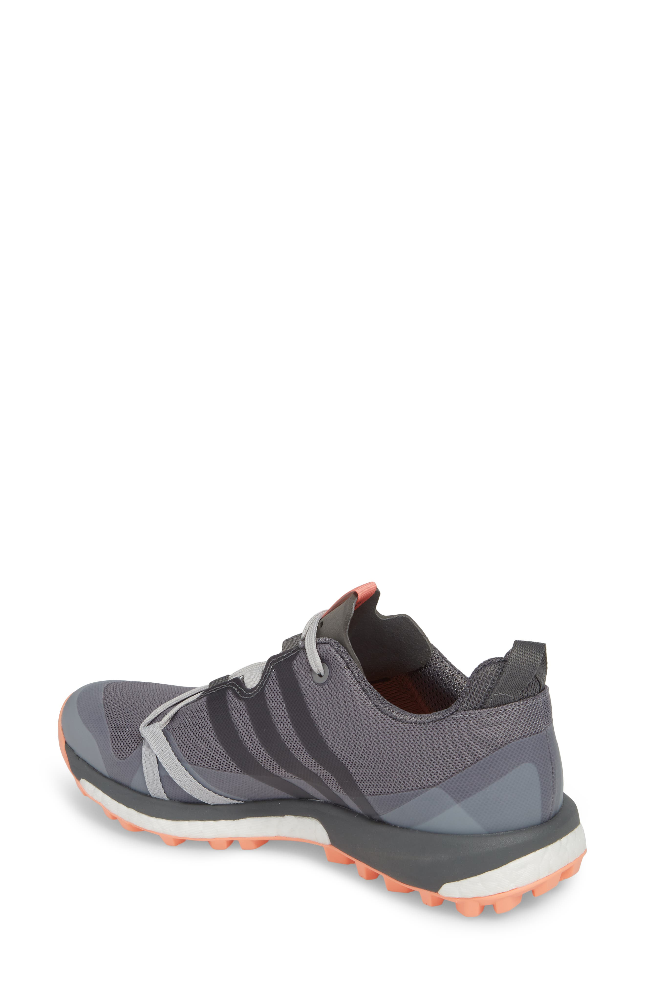 Terrex Agravic Trail Running Shoe,                             Alternate thumbnail 2, color,                             Grey Three/ Grey Four/ Coral