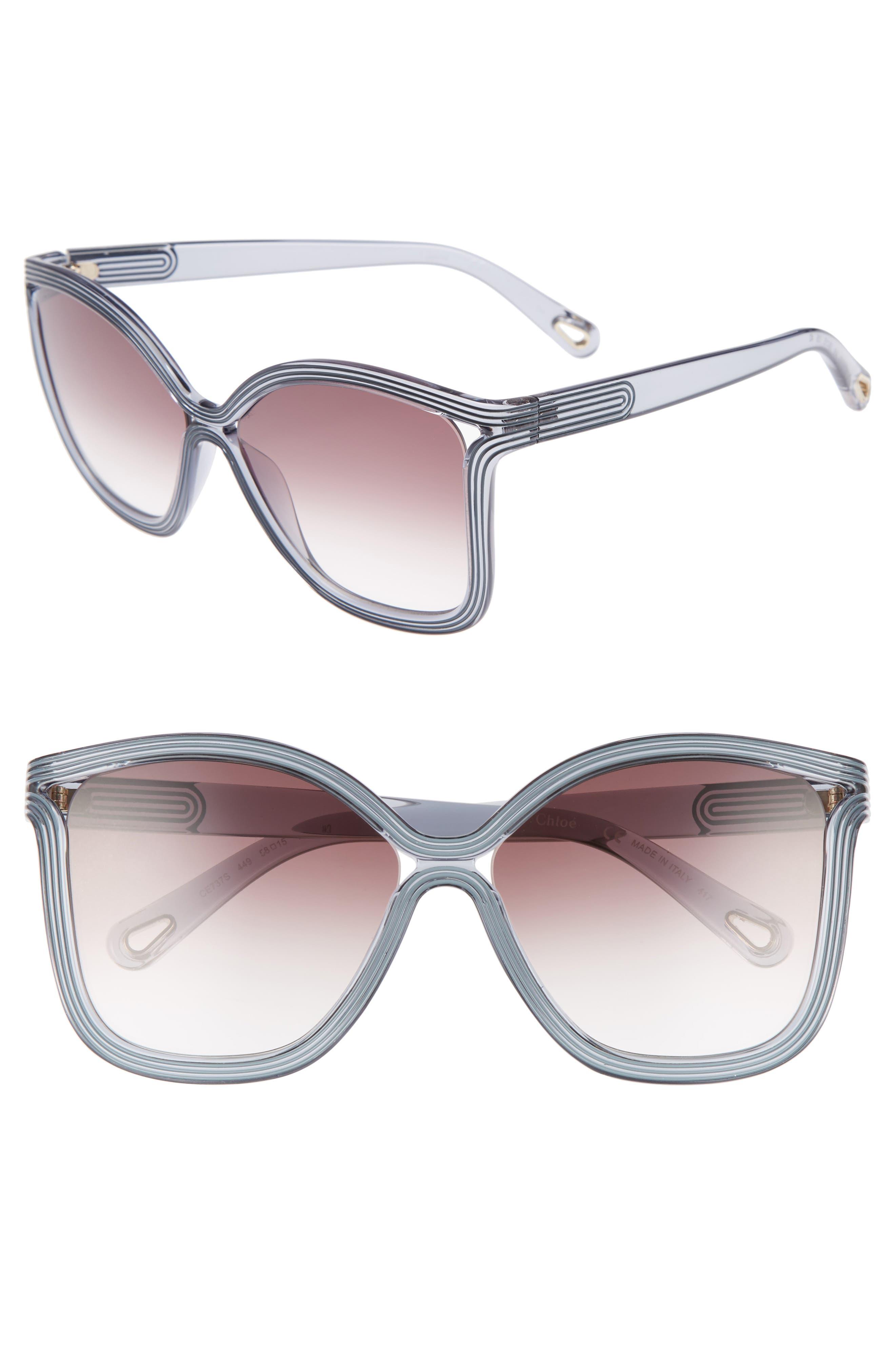 Chloé Grooves 58mm Rectangular Sunglasses