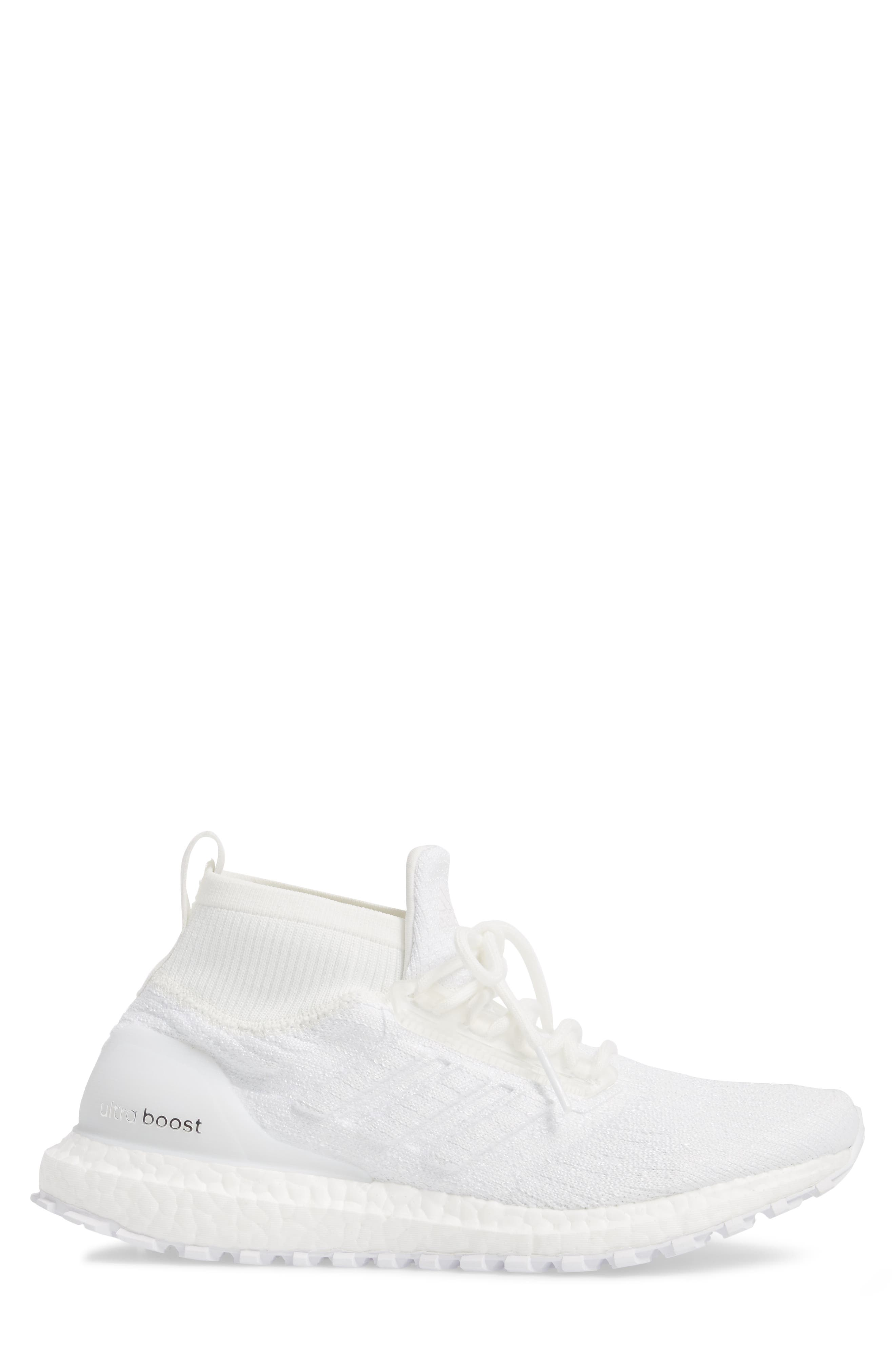 UltraBoost All Terrain Water Resistant Running Shoe,                             Alternate thumbnail 3, color,                             Non-Dyed White