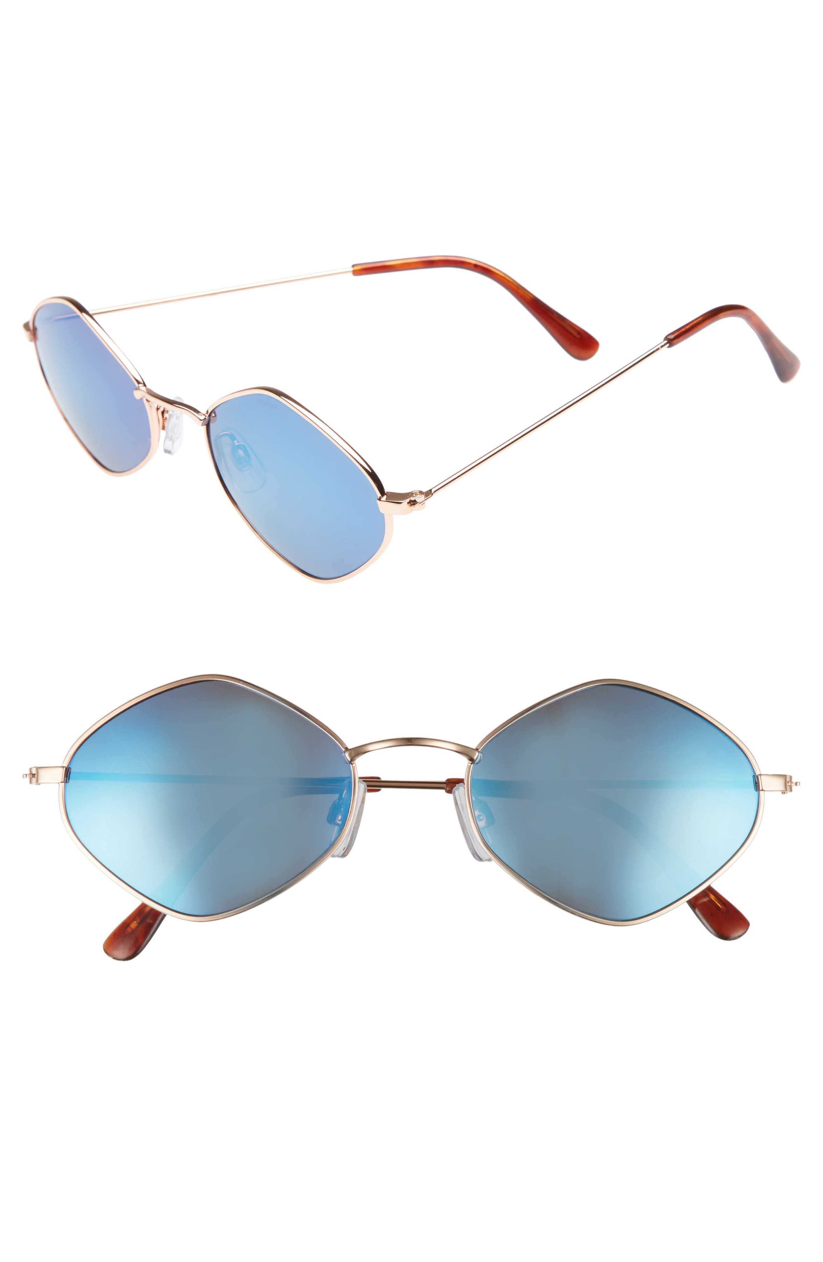 57mm Geo Sunglasses,                             Main thumbnail 1, color,                             Gold/ Blue