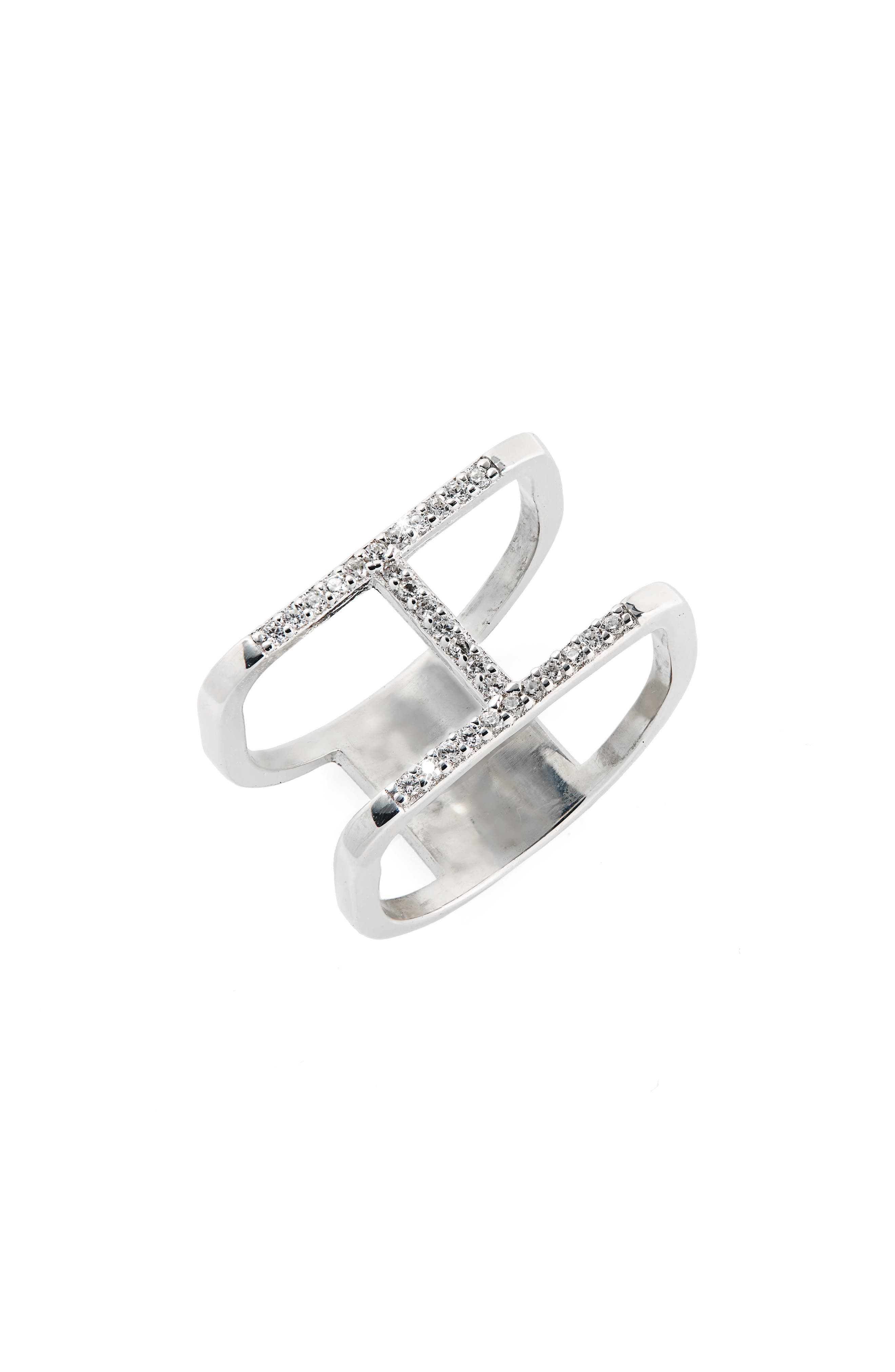Crystal Double Ring,                             Main thumbnail 1, color,                             Silver