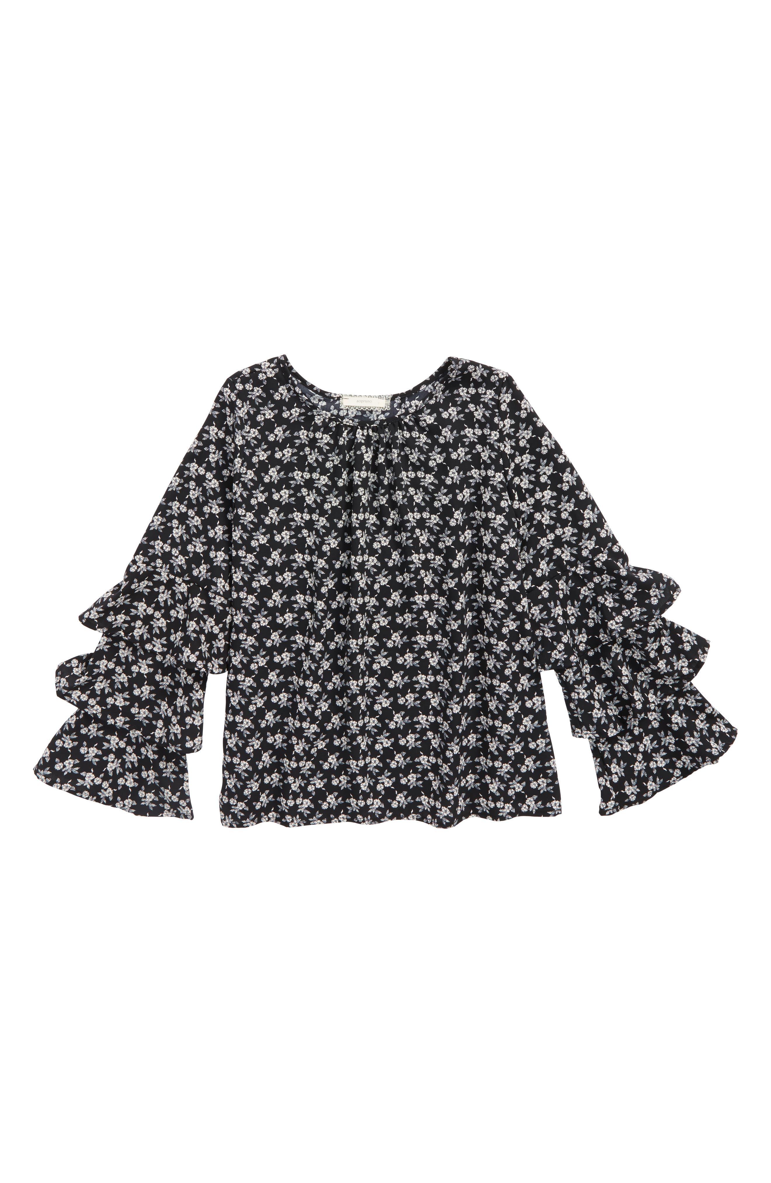 Pretty Woven Top,                         Main,                         color, Black/ Wht Per Sample