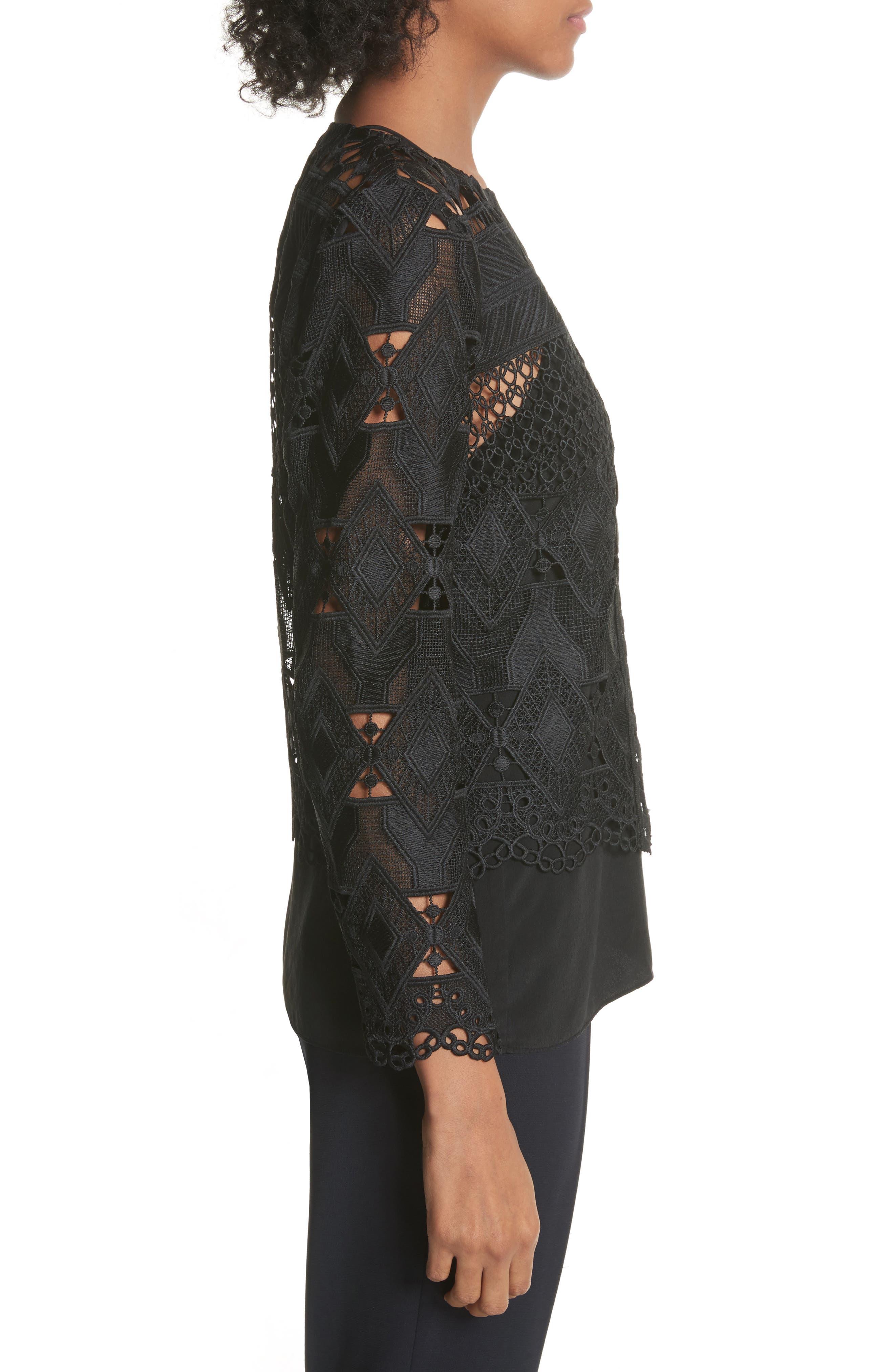 Crop Lace Jacket,                             Alternate thumbnail 3, color,                             Black
