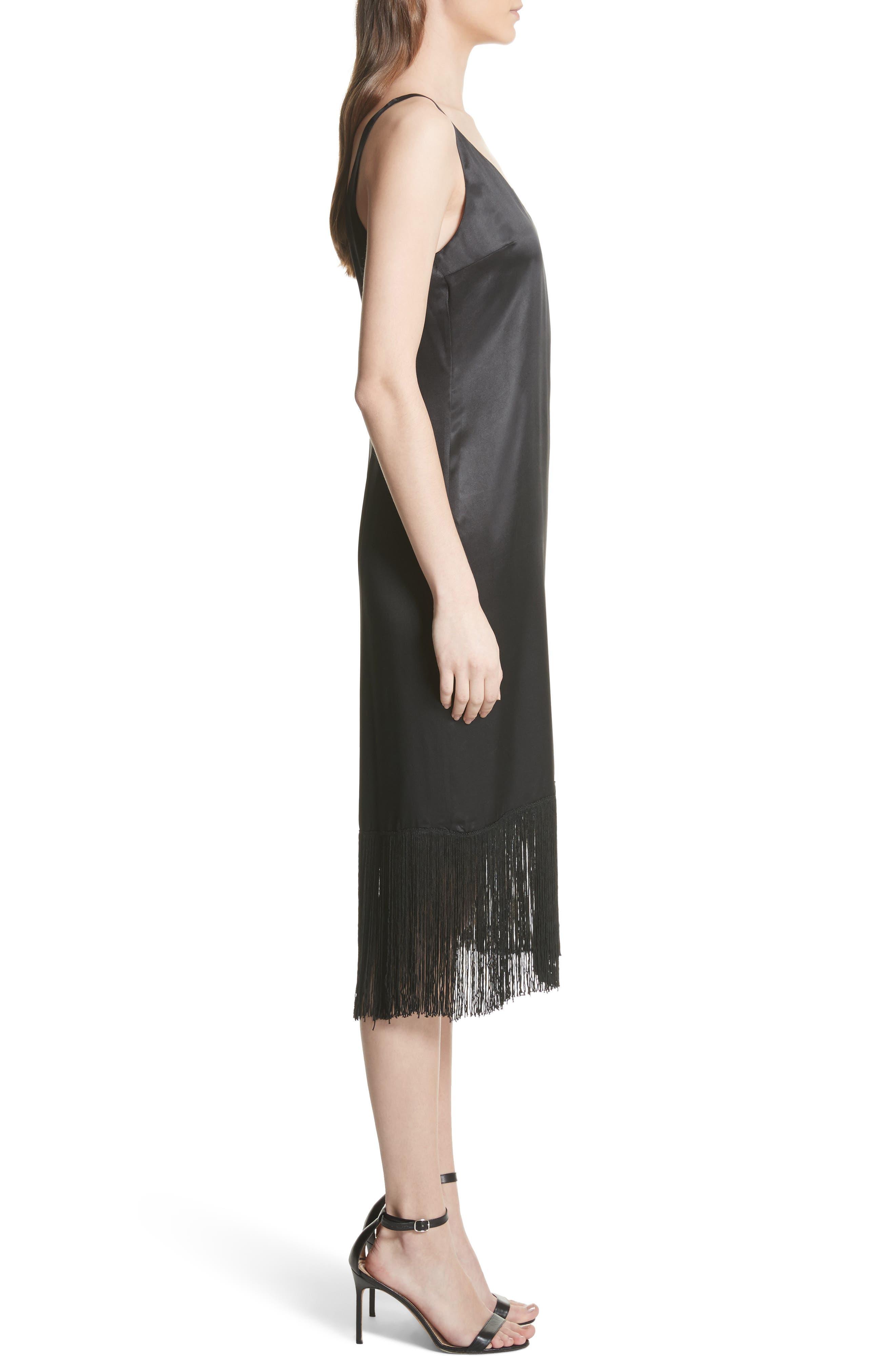 Fringe Silk Midi Dress,                             Alternate thumbnail 3, color,                             Black