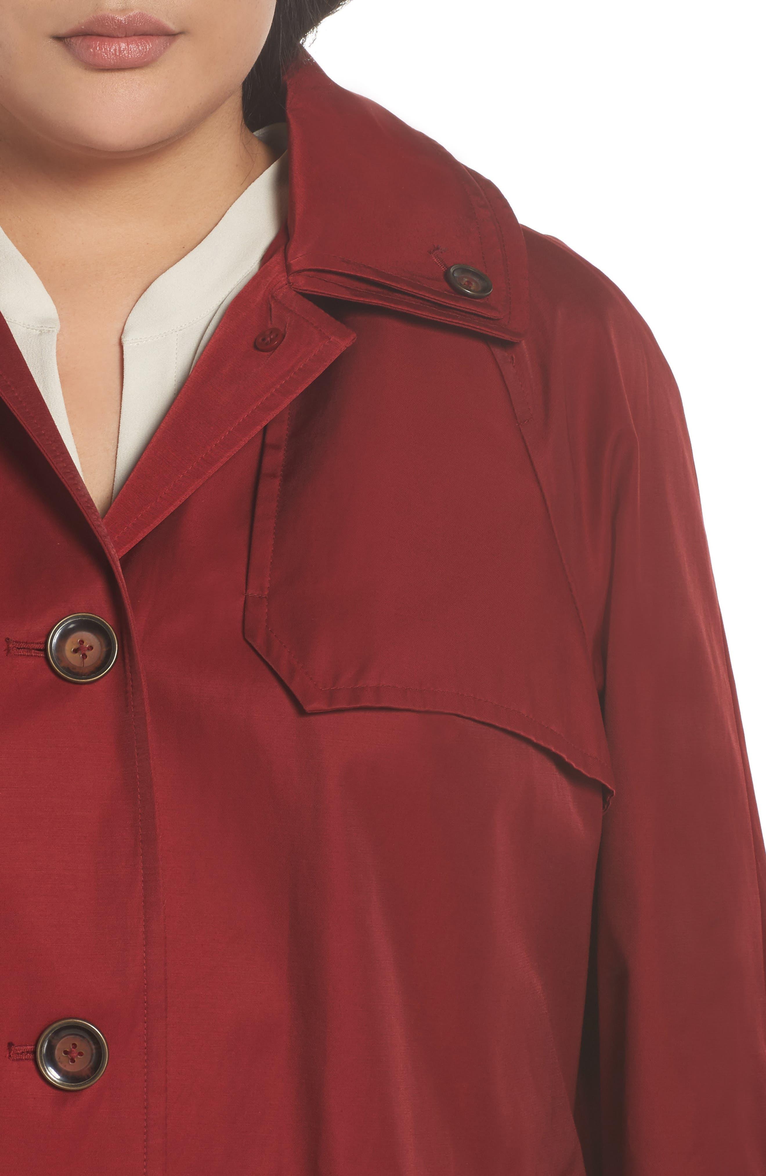 Removable Hood Rain Jacket,                             Alternate thumbnail 4, color,                             Red