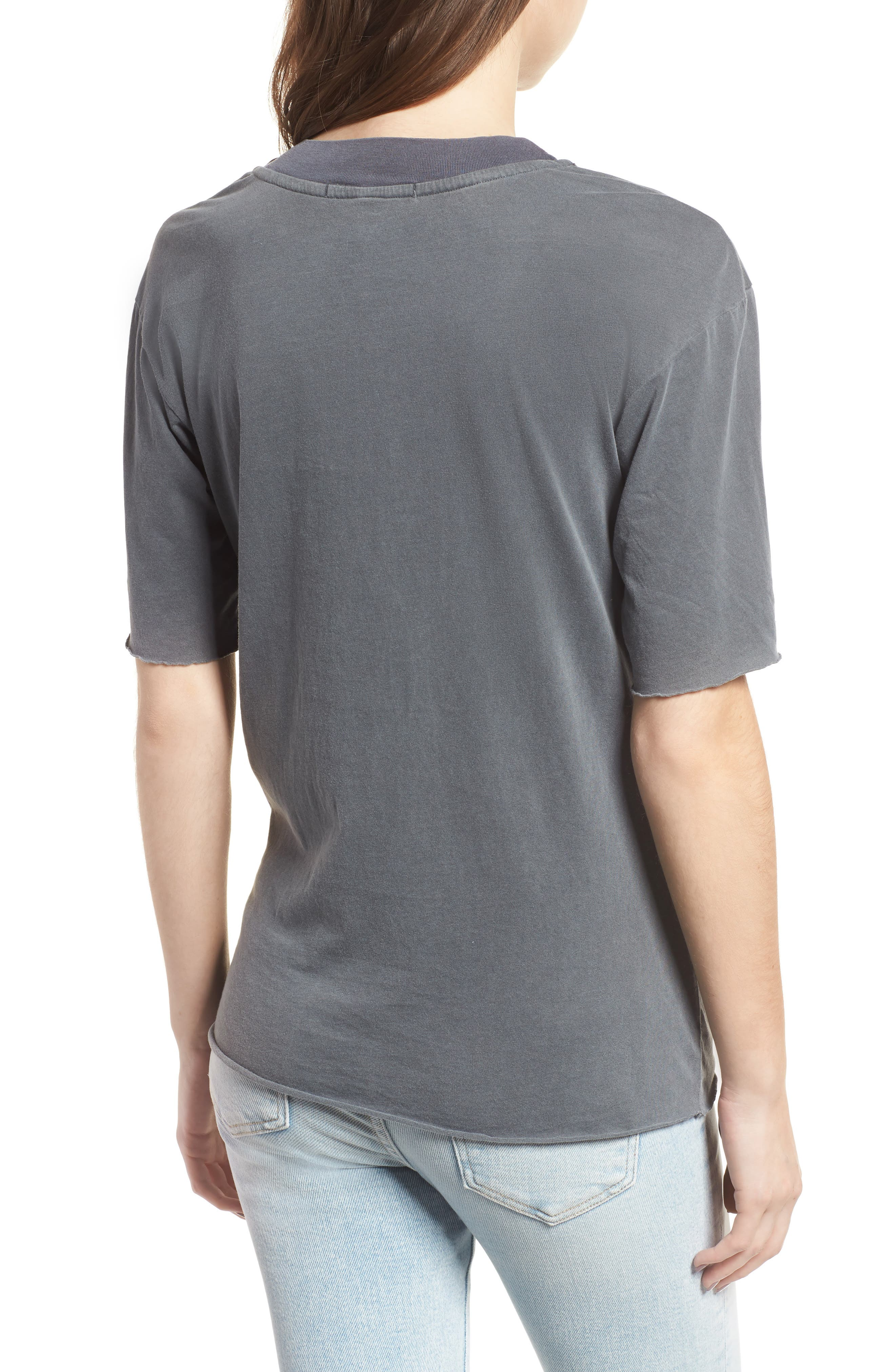 Twist Hem Brushed Jersey Tee,                             Alternate thumbnail 2, color,                             Charcoal