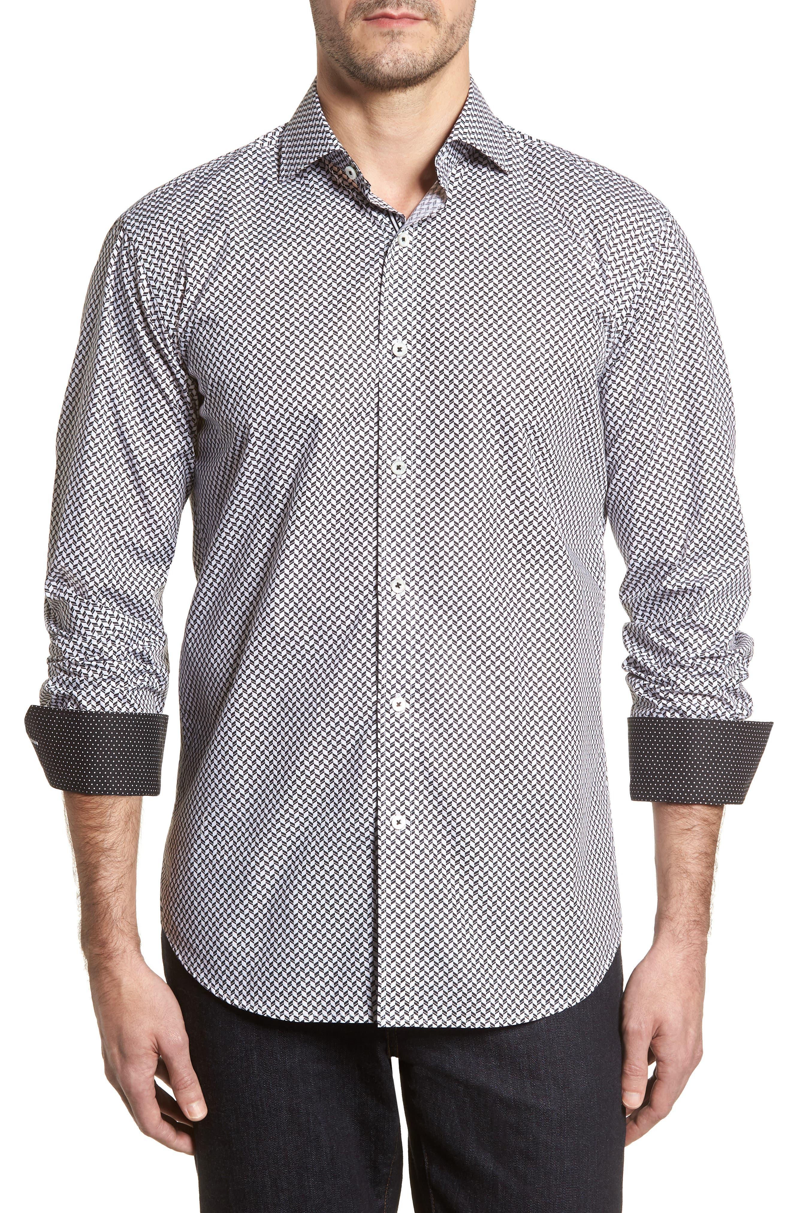 Shaped Fit Chevron Print Sport Shirt,                             Main thumbnail 1, color,                             Black