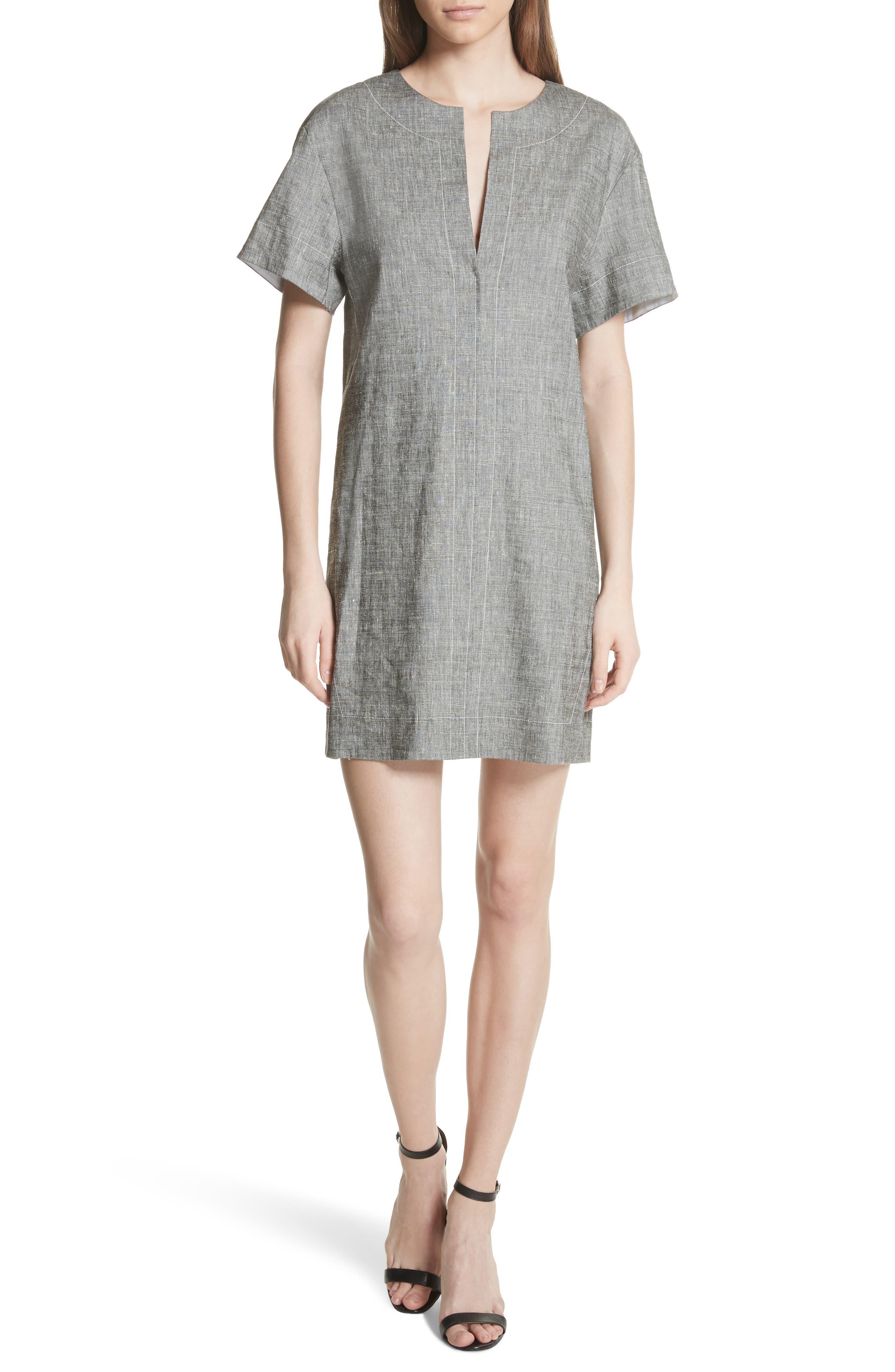 Split Neck Linen Blend Shift Dress,                         Main,                         color, Black