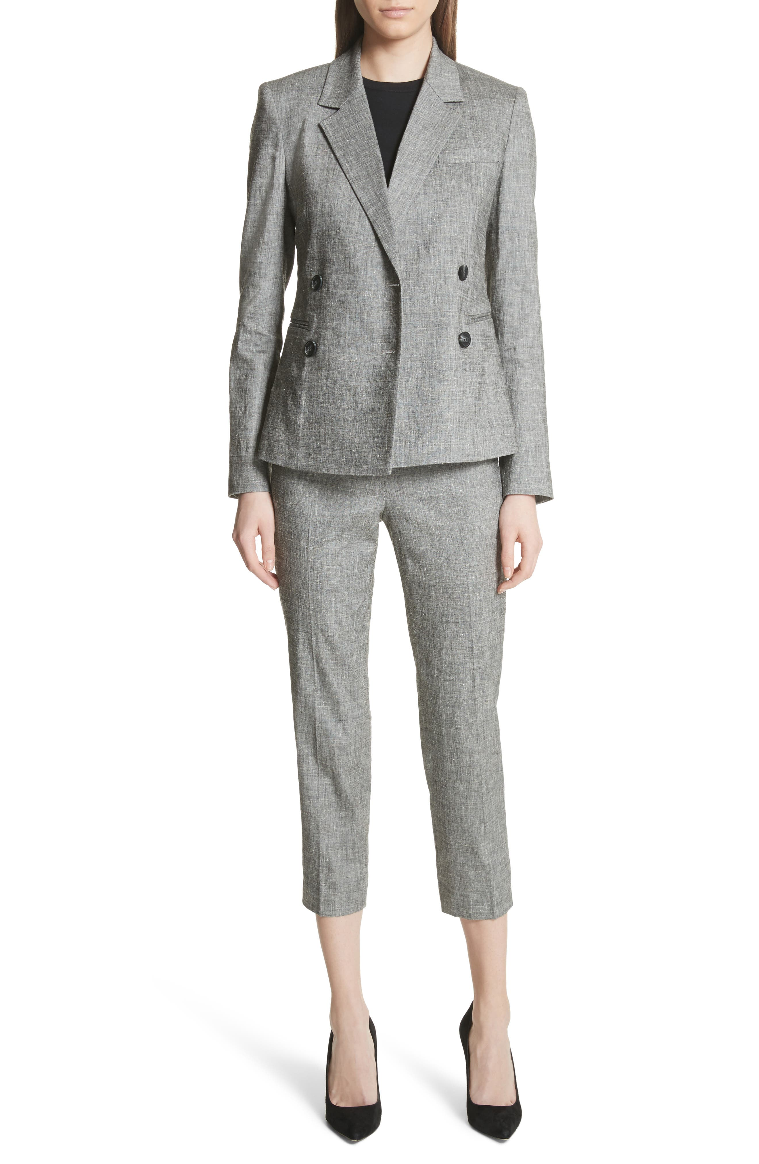 Double Breasted Linen Blend Suit Jacket,                             Alternate thumbnail 6, color,                             Black