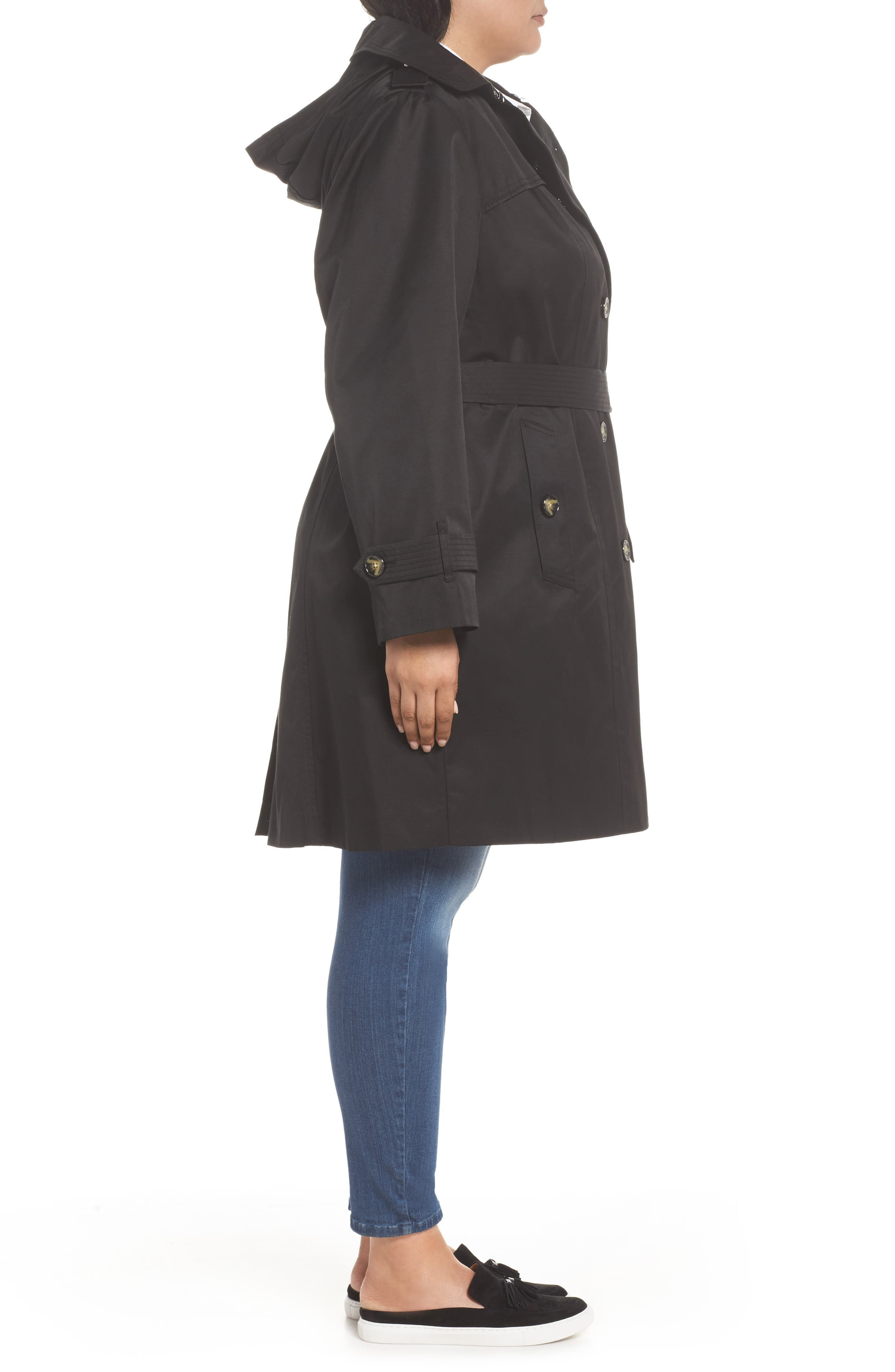 Alternate Image 3  - London Fog Hooded Double Breasted Trench Coat (Plus Size)