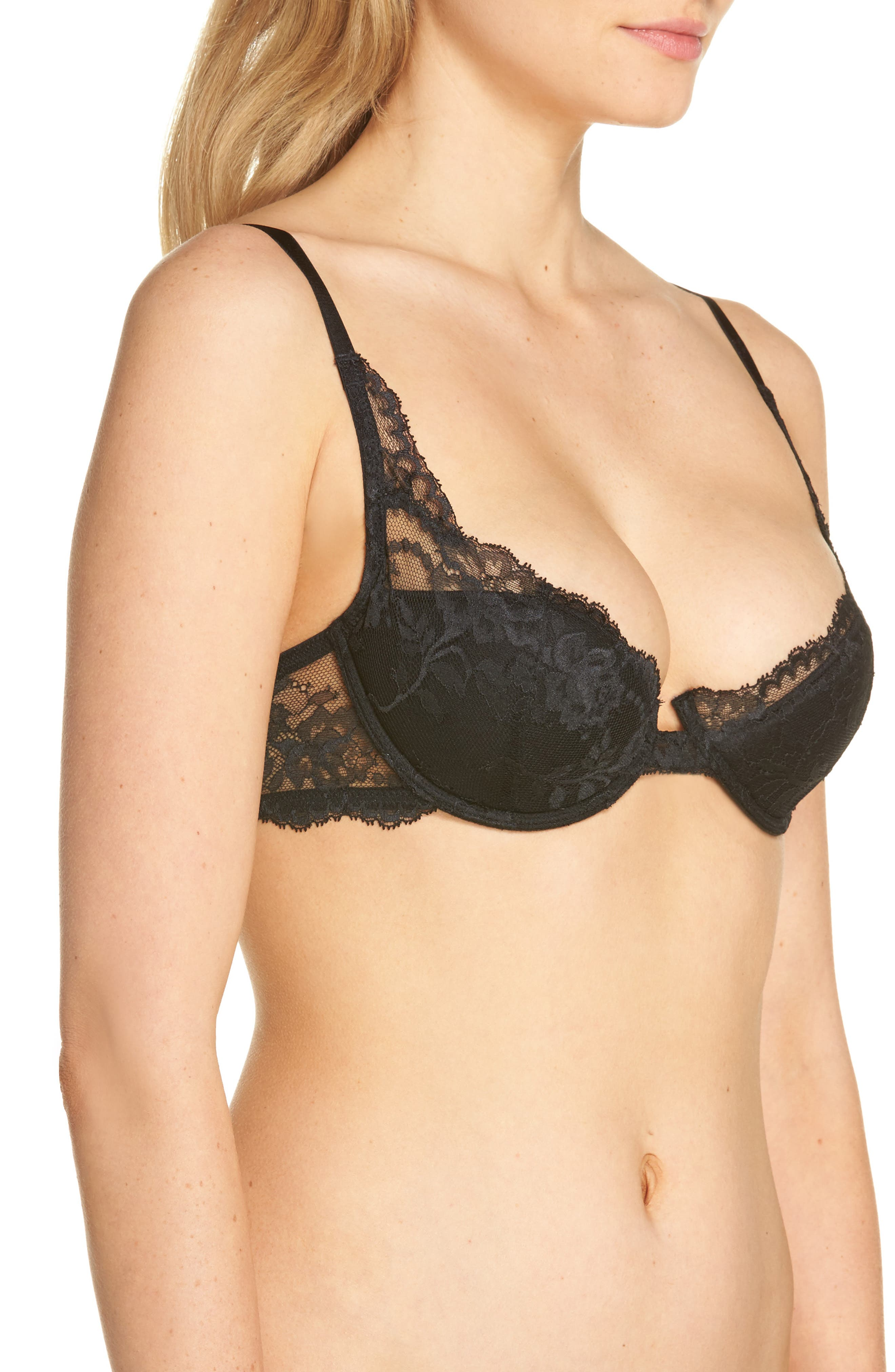 Devotion Contour Underwire Demi Bra,                             Alternate thumbnail 3, color,                             Black/ Coal