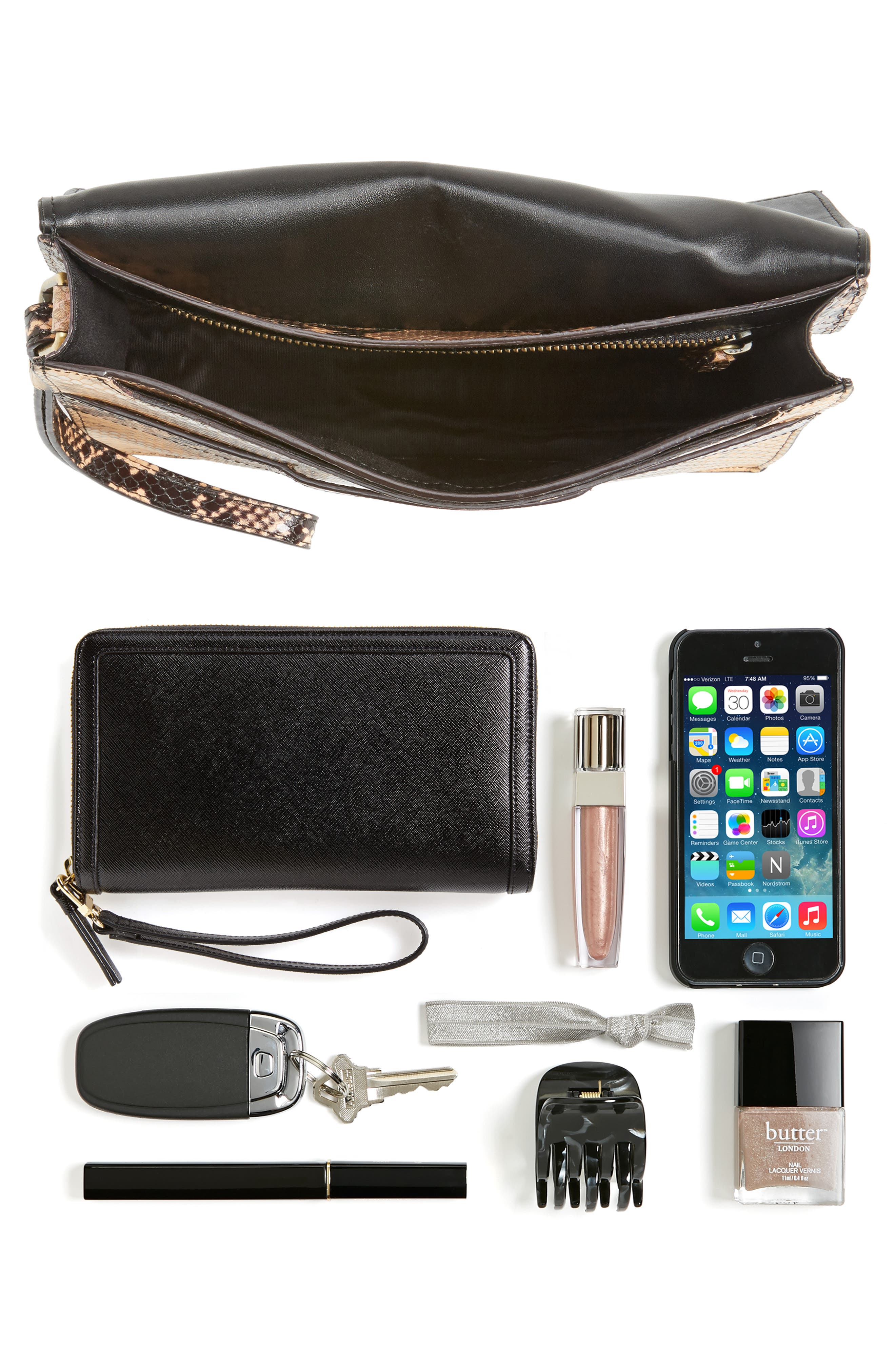 Snake Embossed Leather Wristlet Clutch,                             Alternate thumbnail 7, color,
