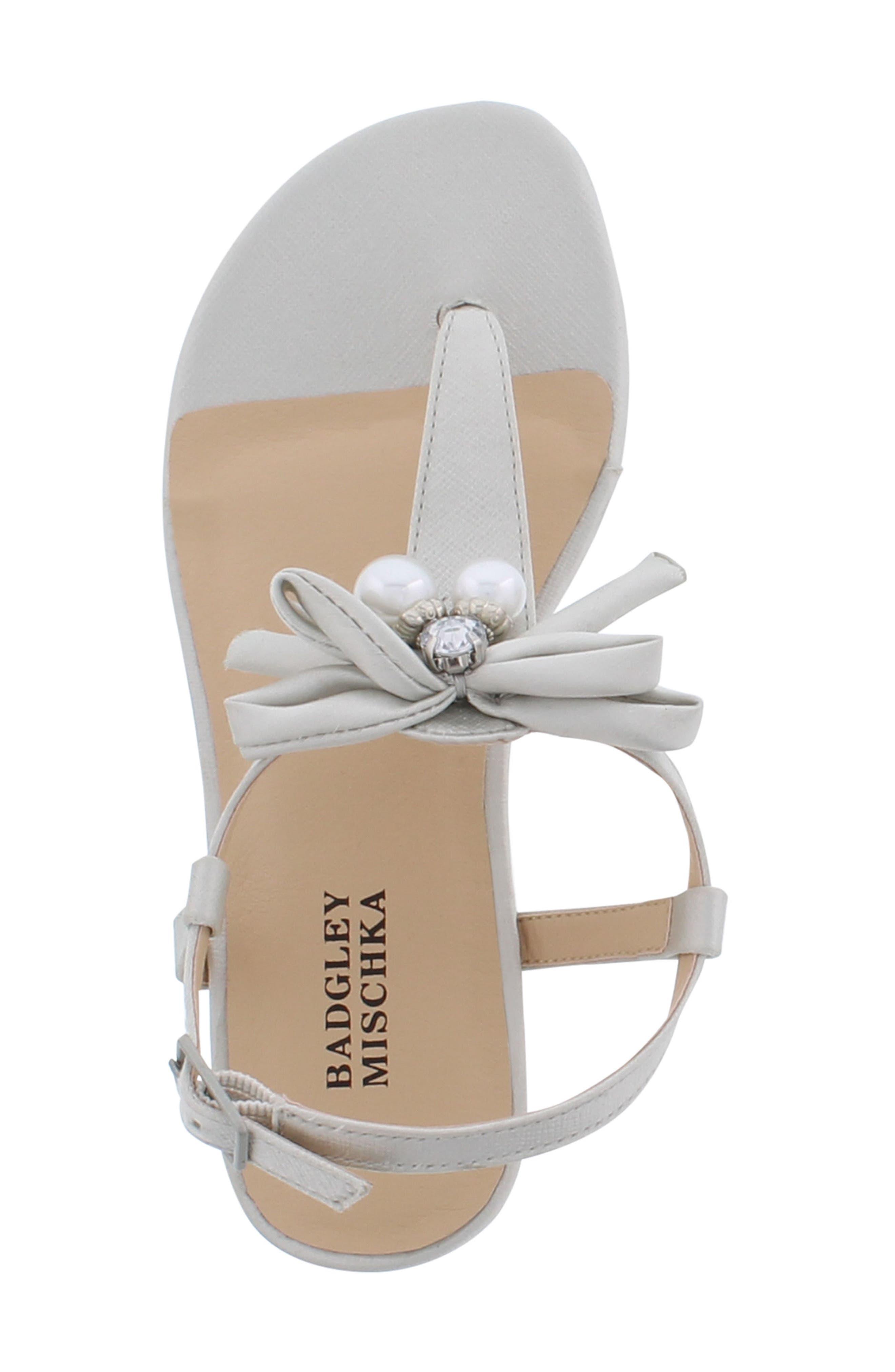 Talia Embellished Bow Sandal,                             Alternate thumbnail 5, color,                             Silver