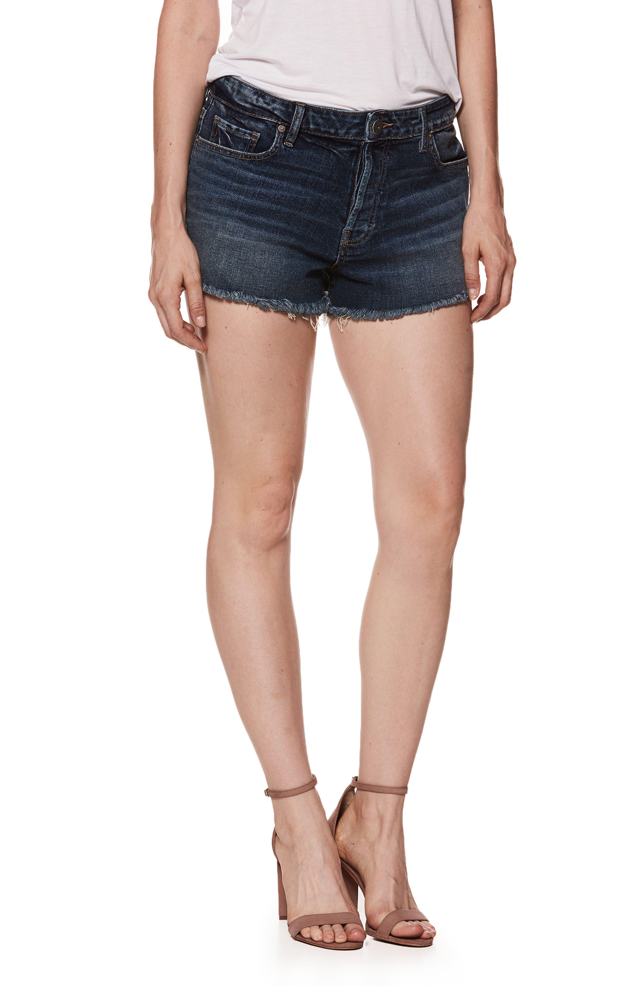 Emmitt High Waist Cutoff Denim Shorts,                         Main,                         color, Verdun
