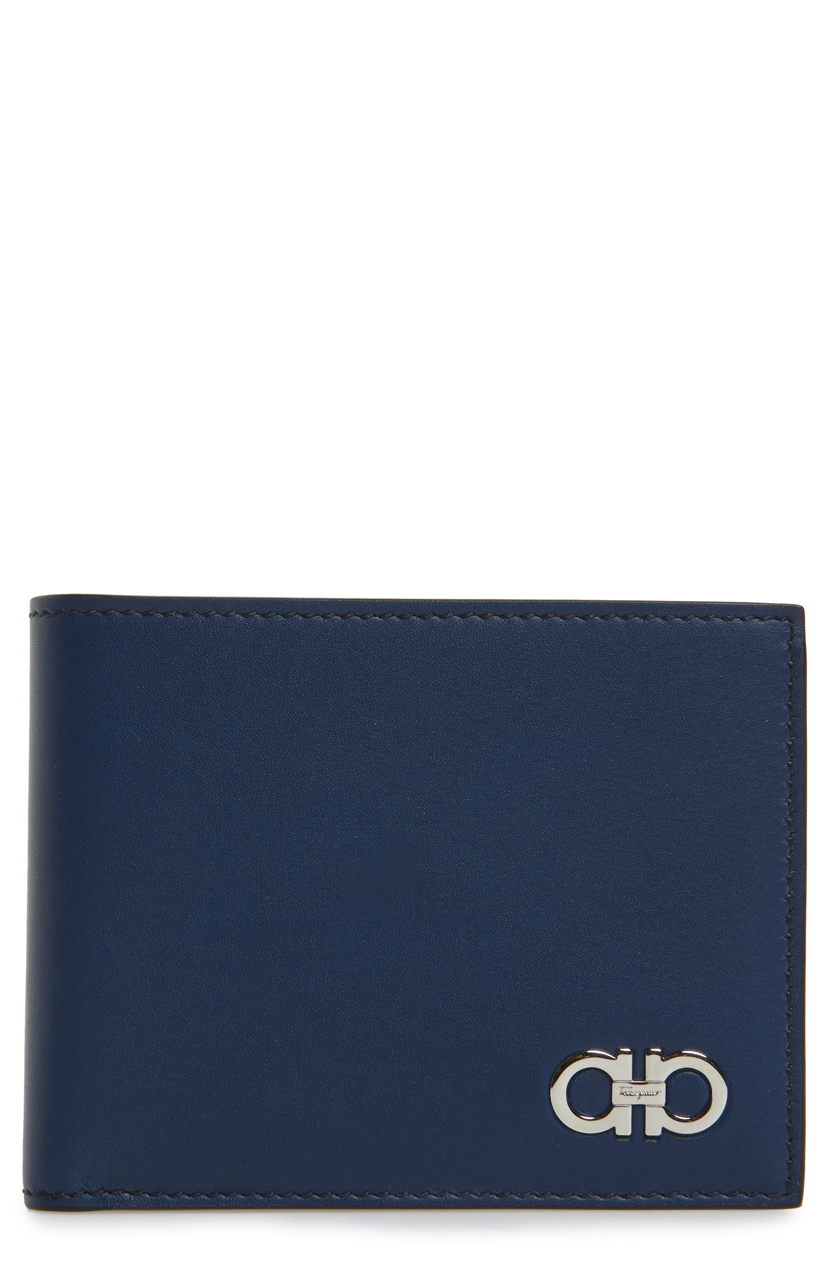 Leather Bifold Wallet,                             Main thumbnail 1, color,                             Ultramarine