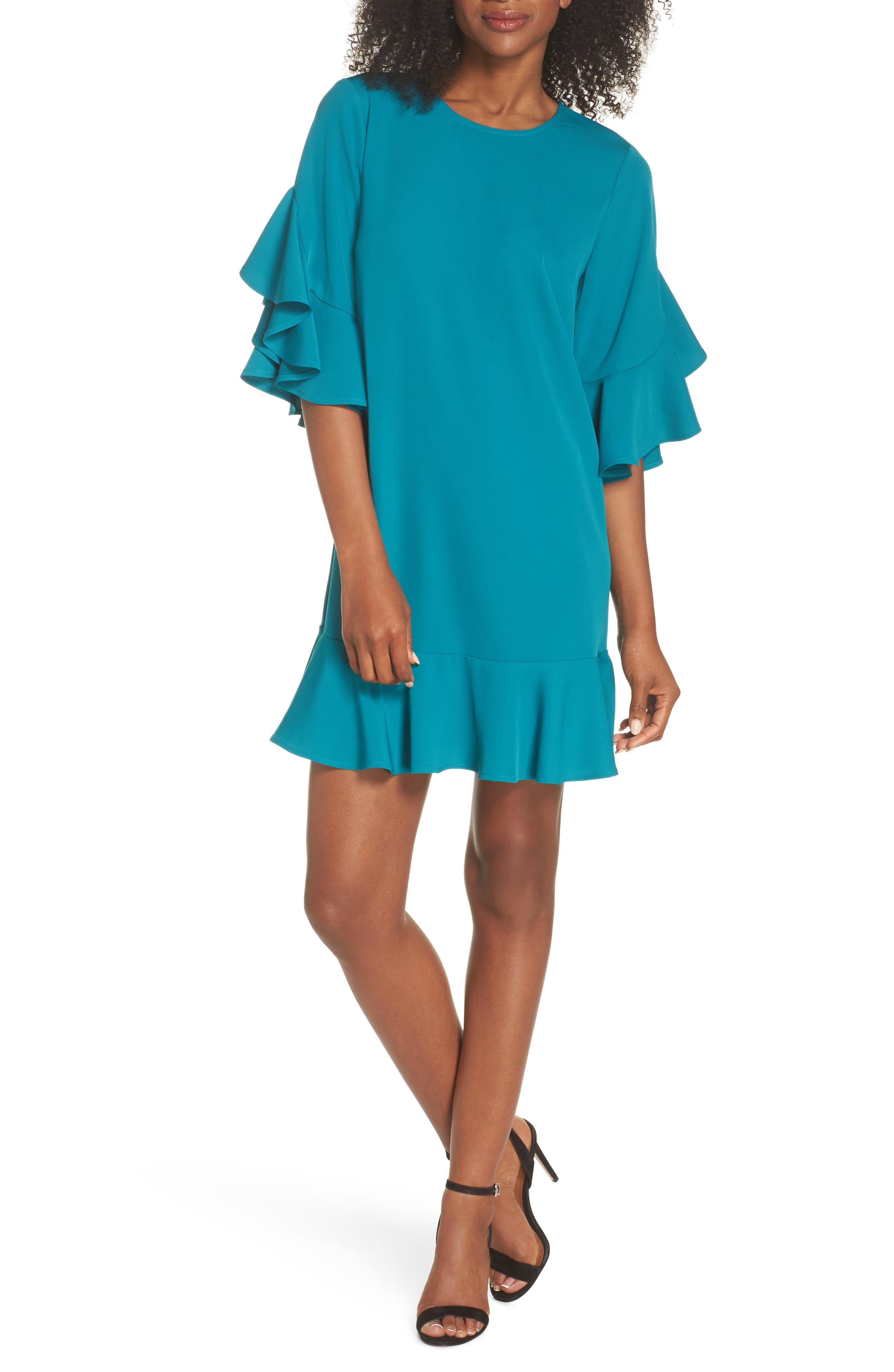 Flounce Hem Shift Dress,                         Main,                         color, Teal Harbor