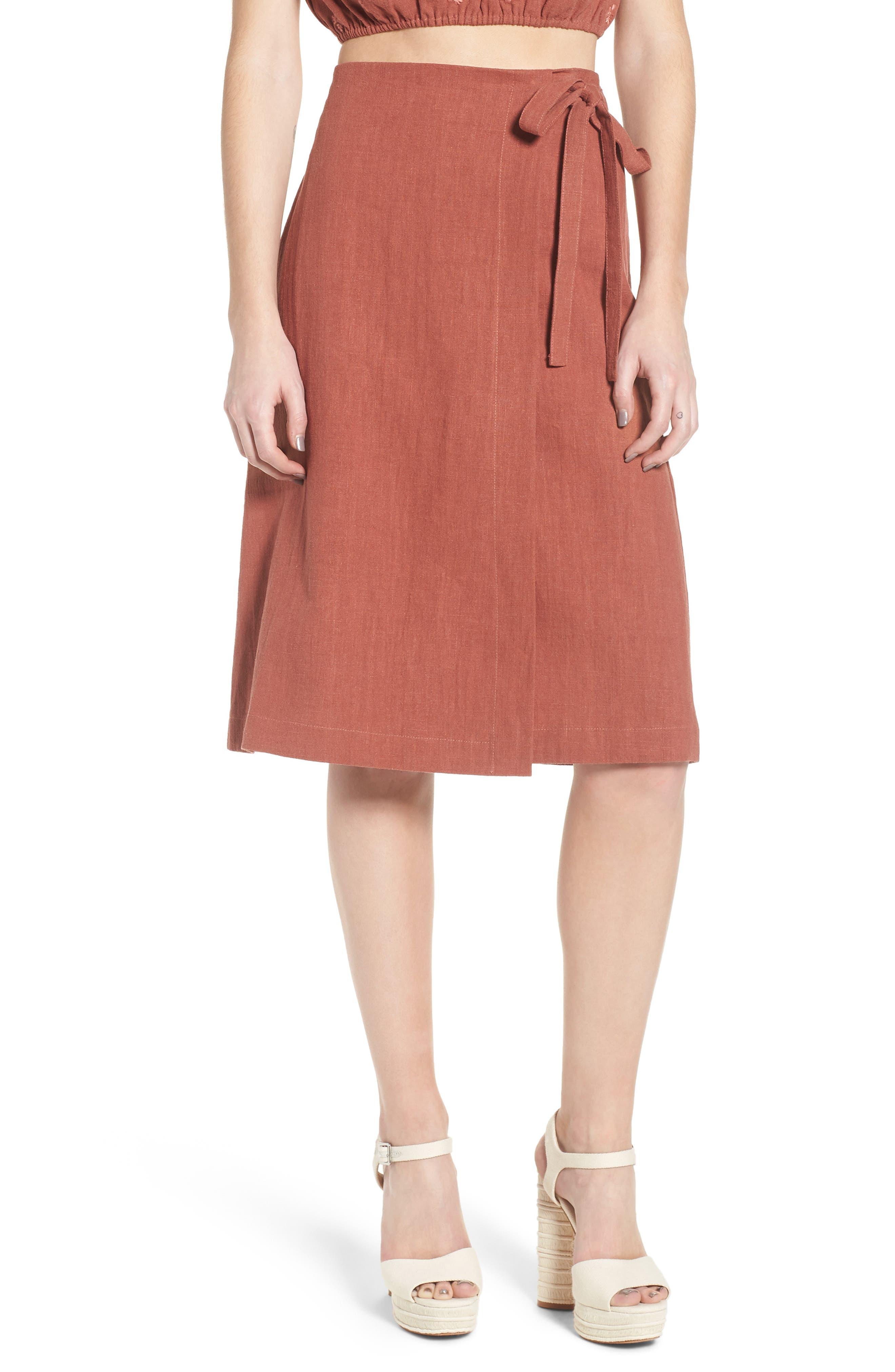 Wrap A-Line Skirt,                             Main thumbnail 1, color,                             Rust