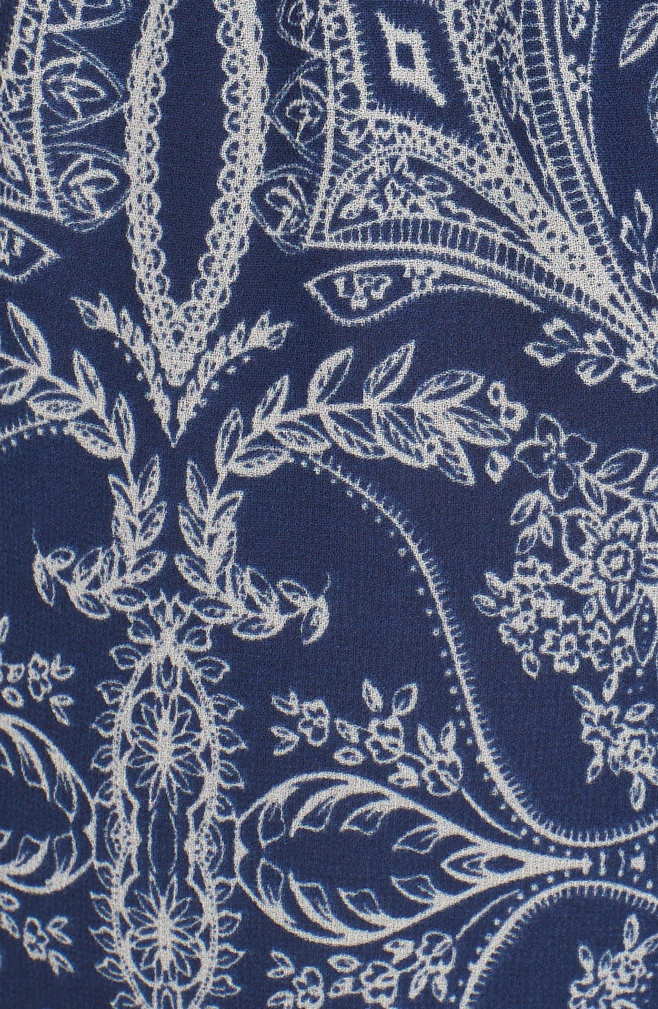 Adel Print Midi Dress,                             Alternate thumbnail 5, color,                             Blue Fe3