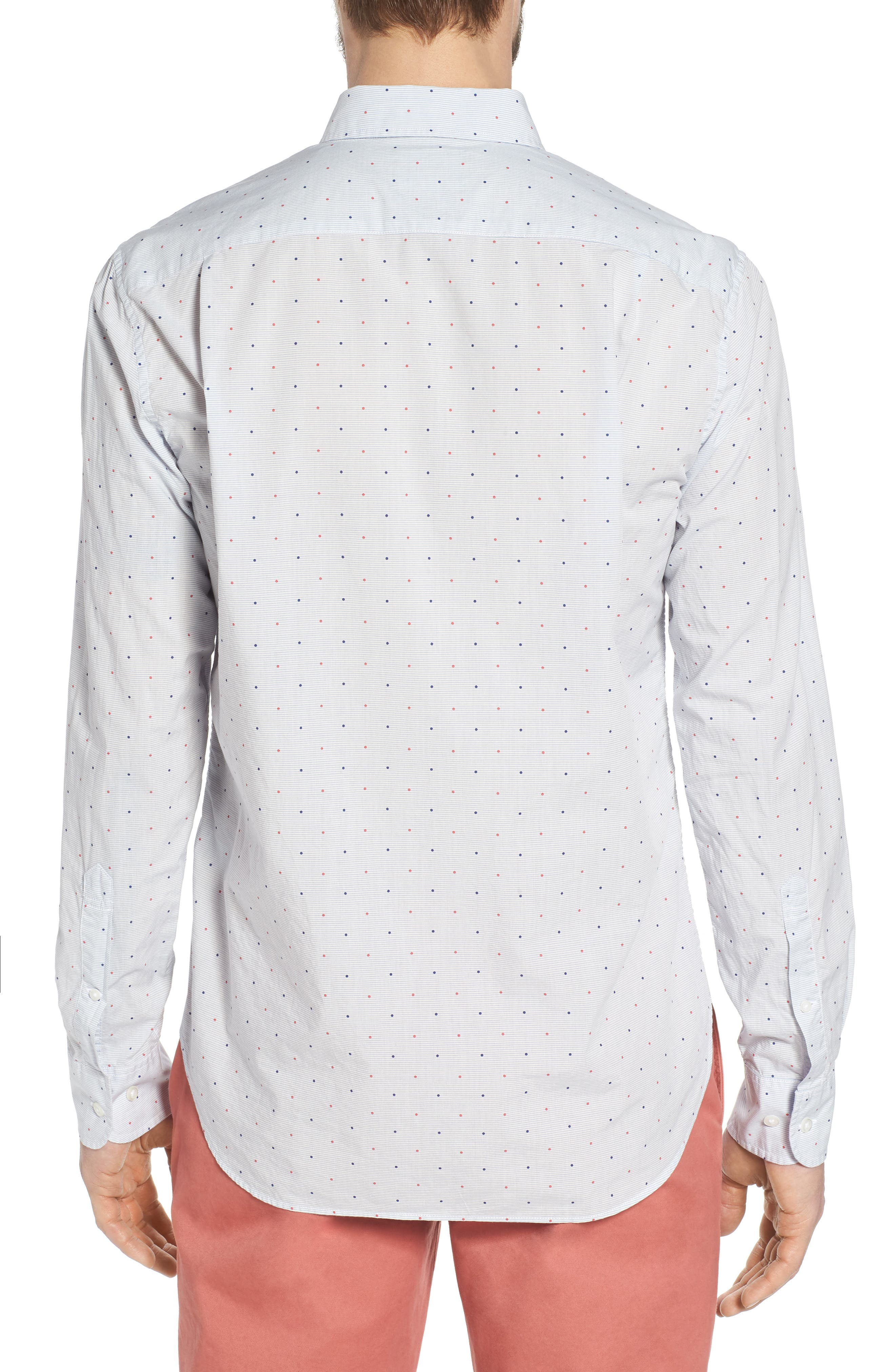 Slim Fit Dot Sport Shirt,                             Alternate thumbnail 3, color,                             Houndslow Dot - Della Blue