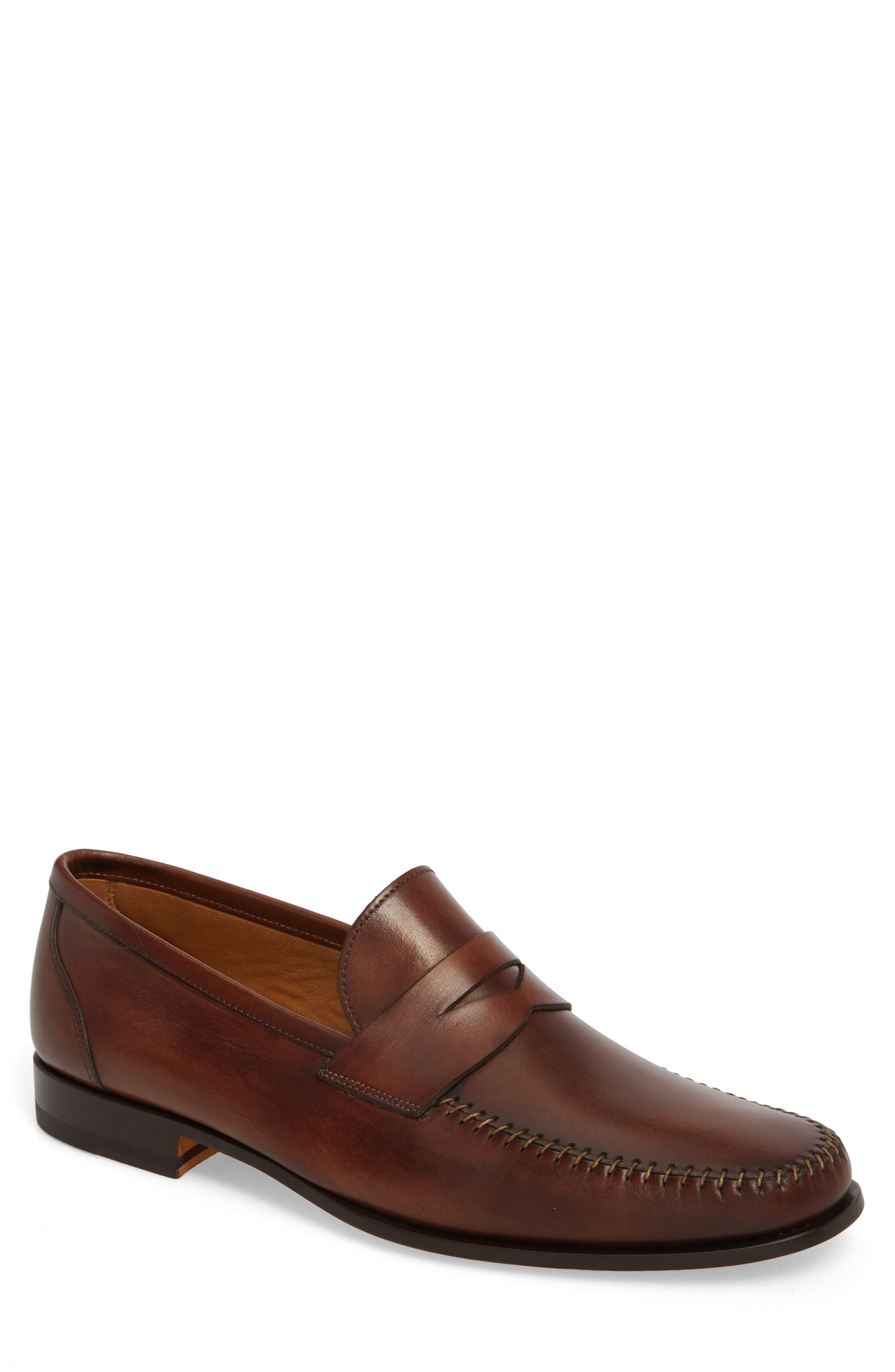Ramos Moc Toe Penny Loafer,                             Main thumbnail 1, color,                             Brown Leather