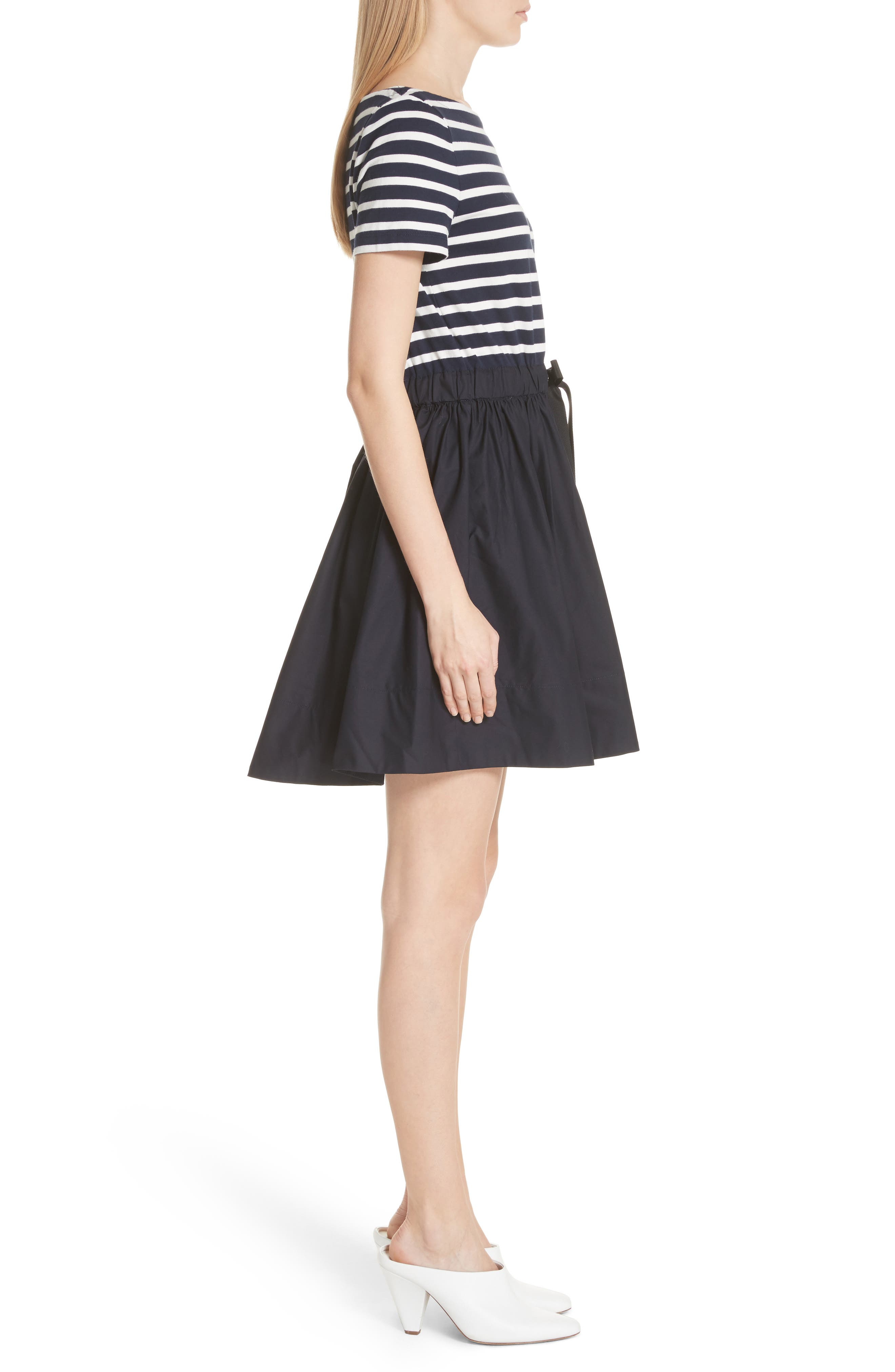 mixed media fit & flare dress,                             Alternate thumbnail 3, color,                             Rich Navy/ Off White
