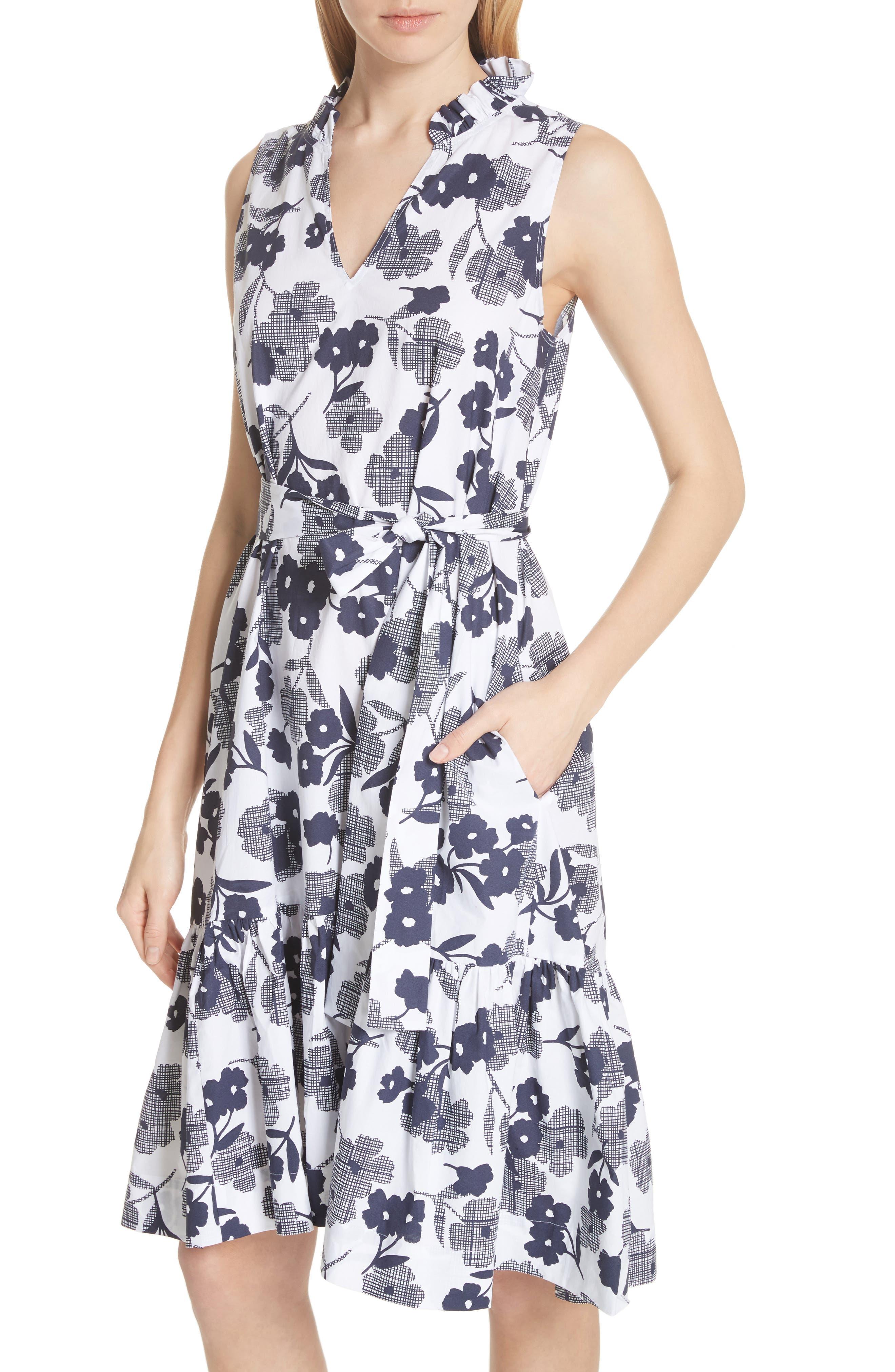 shadows fit & flare poplin dress,                             Alternate thumbnail 4, color,                             Rich Navy