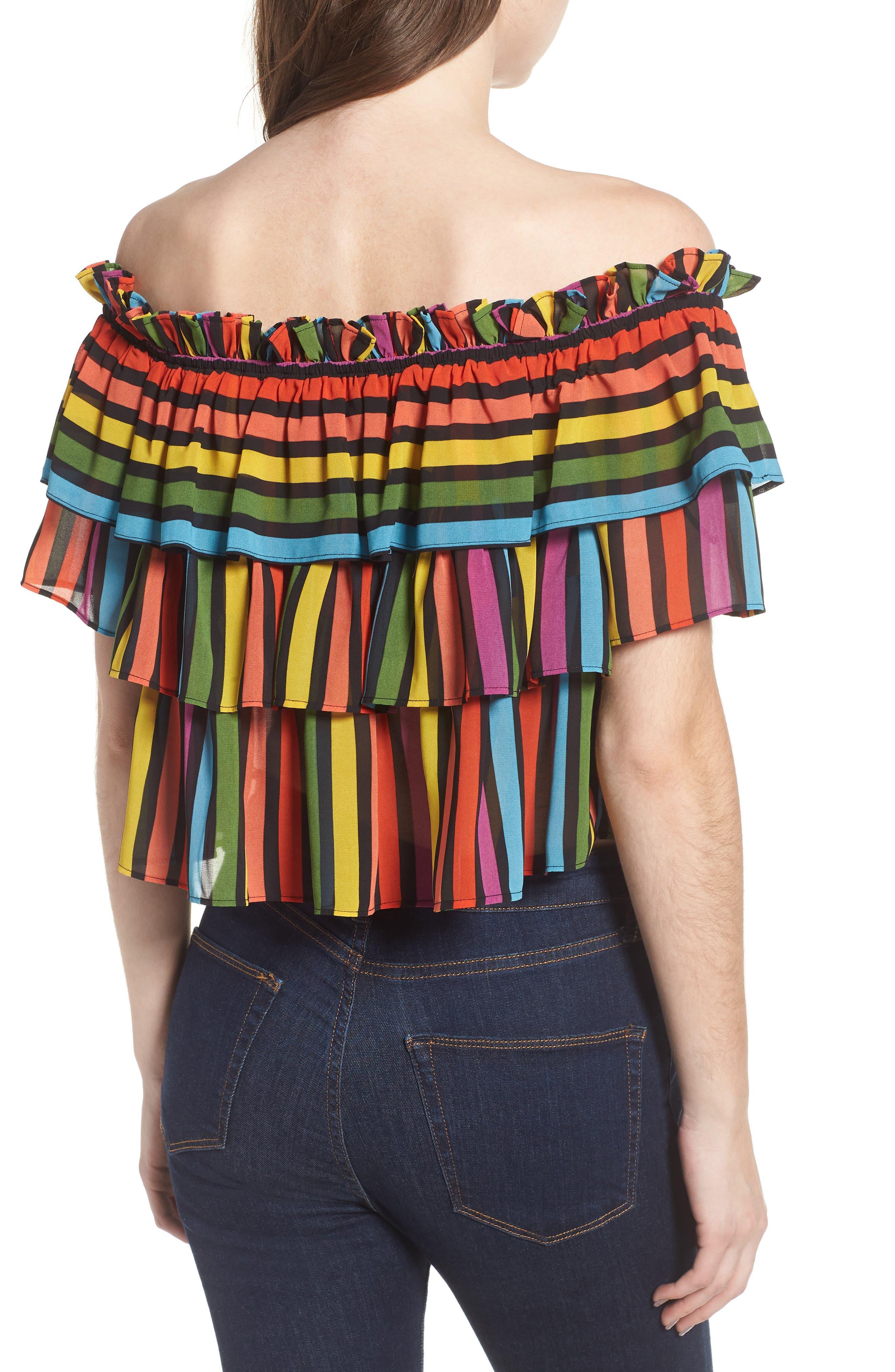 Toulon Tiered Ruffle Top,                             Alternate thumbnail 2, color,                             Rainbow Stripe