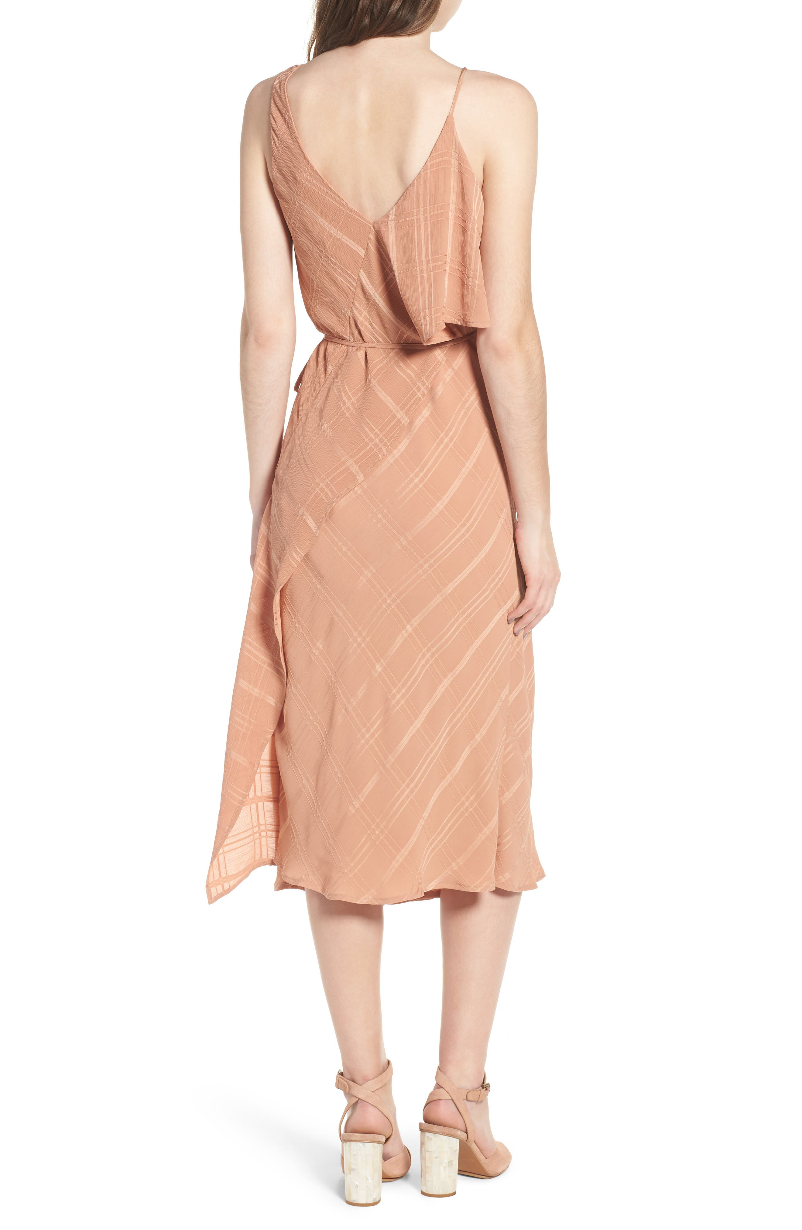 Yoanna Ruffle Trim Wrap Dress,                             Alternate thumbnail 2, color,                             Terracotta