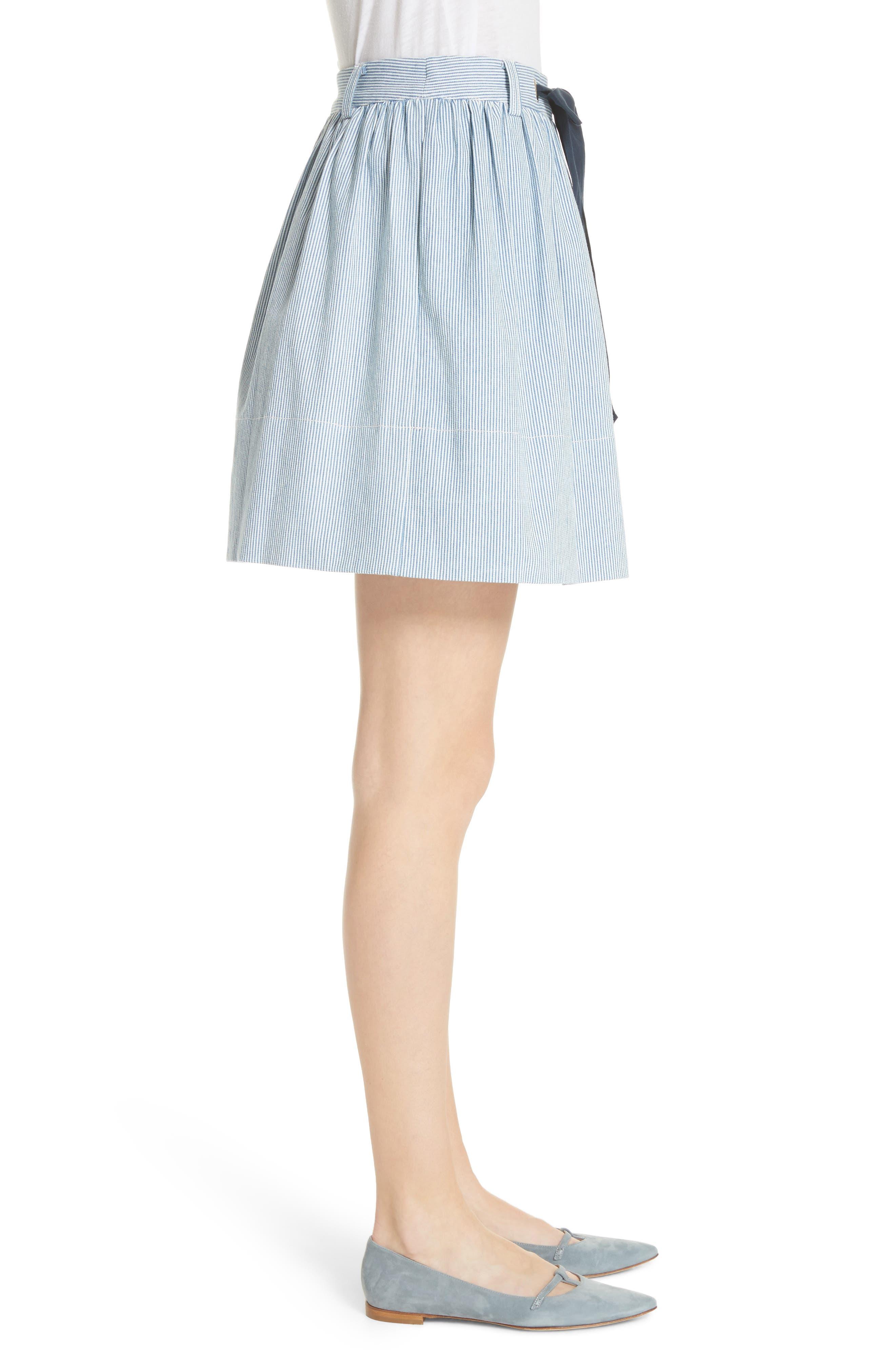 railroad stripe denim skirt,                             Alternate thumbnail 3, color,                             Indigo/ Cream