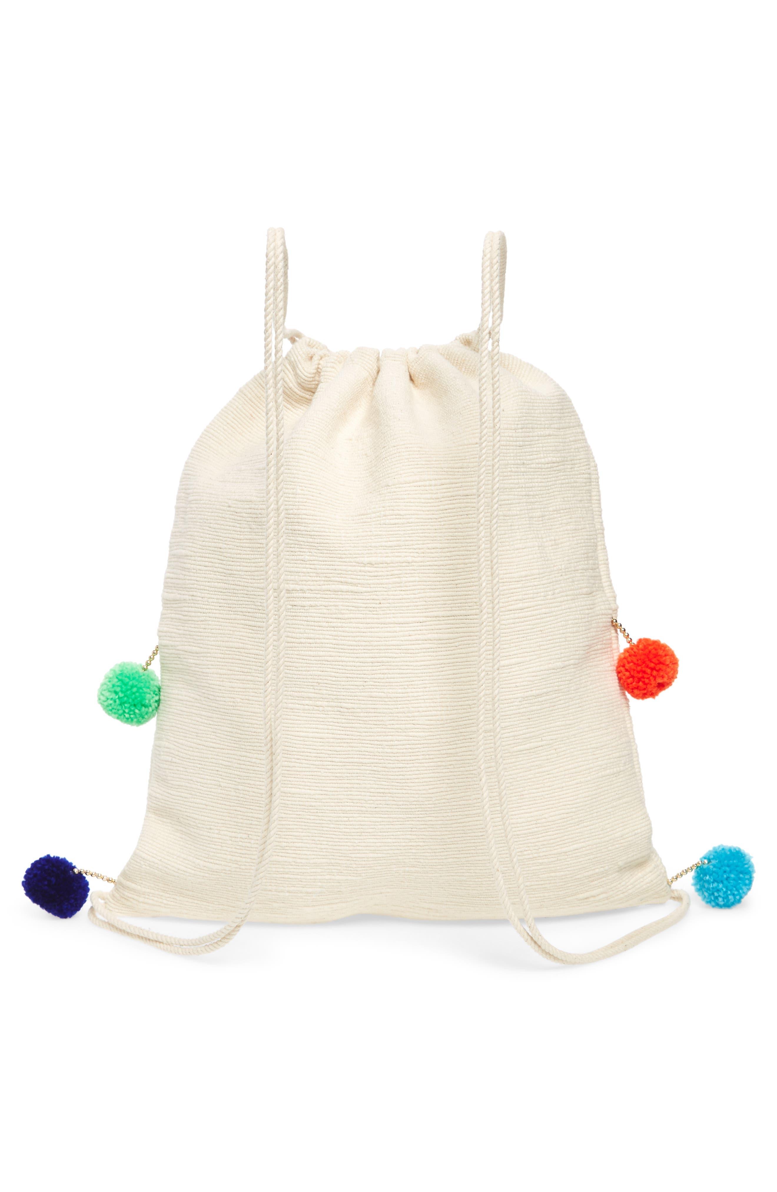Pompom Drawstring Bag,                             Alternate thumbnail 3, color,                             Caramel
