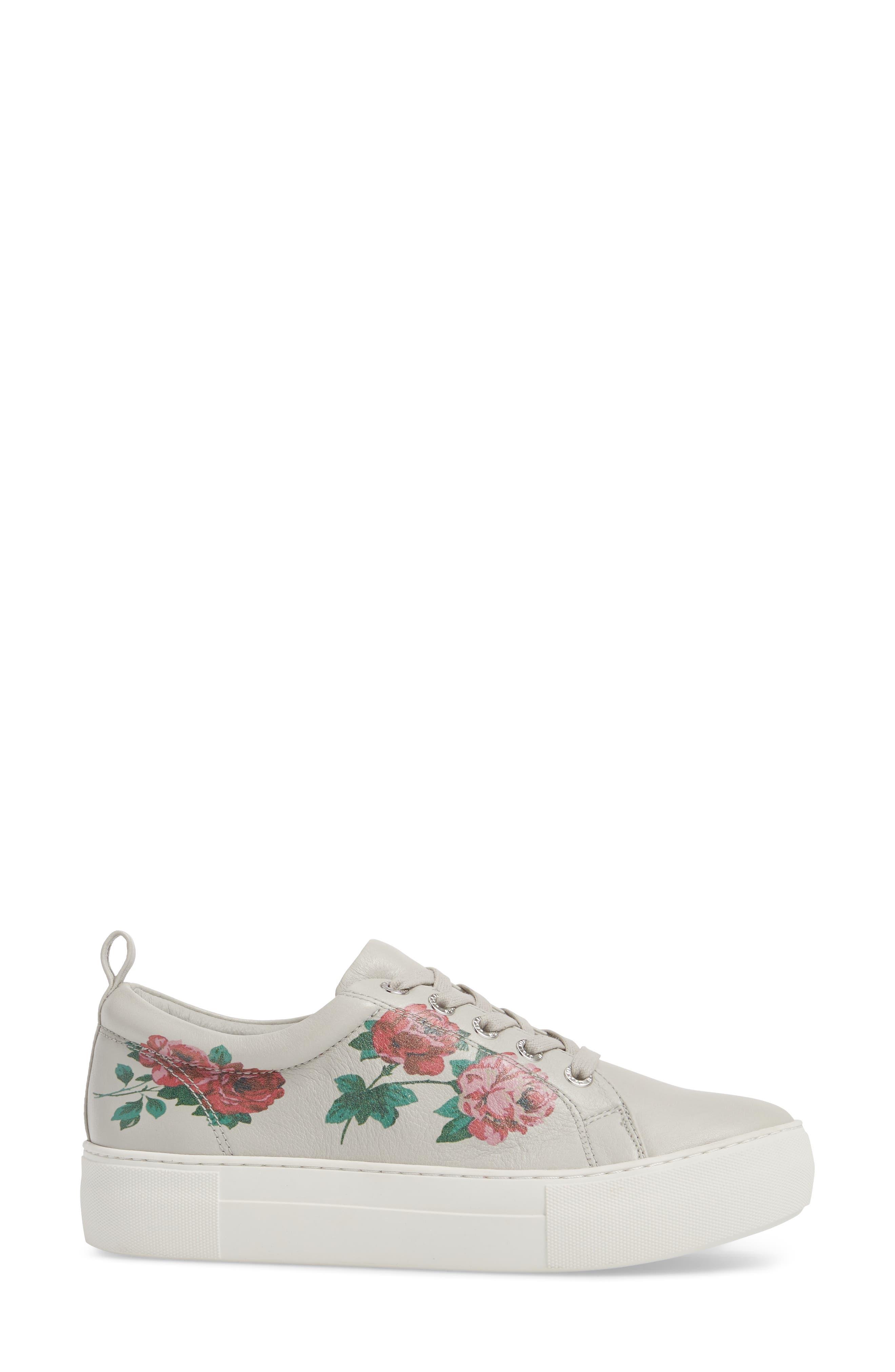Adel Floral Sneaker,                             Alternate thumbnail 3, color,                             Light Grey Leather