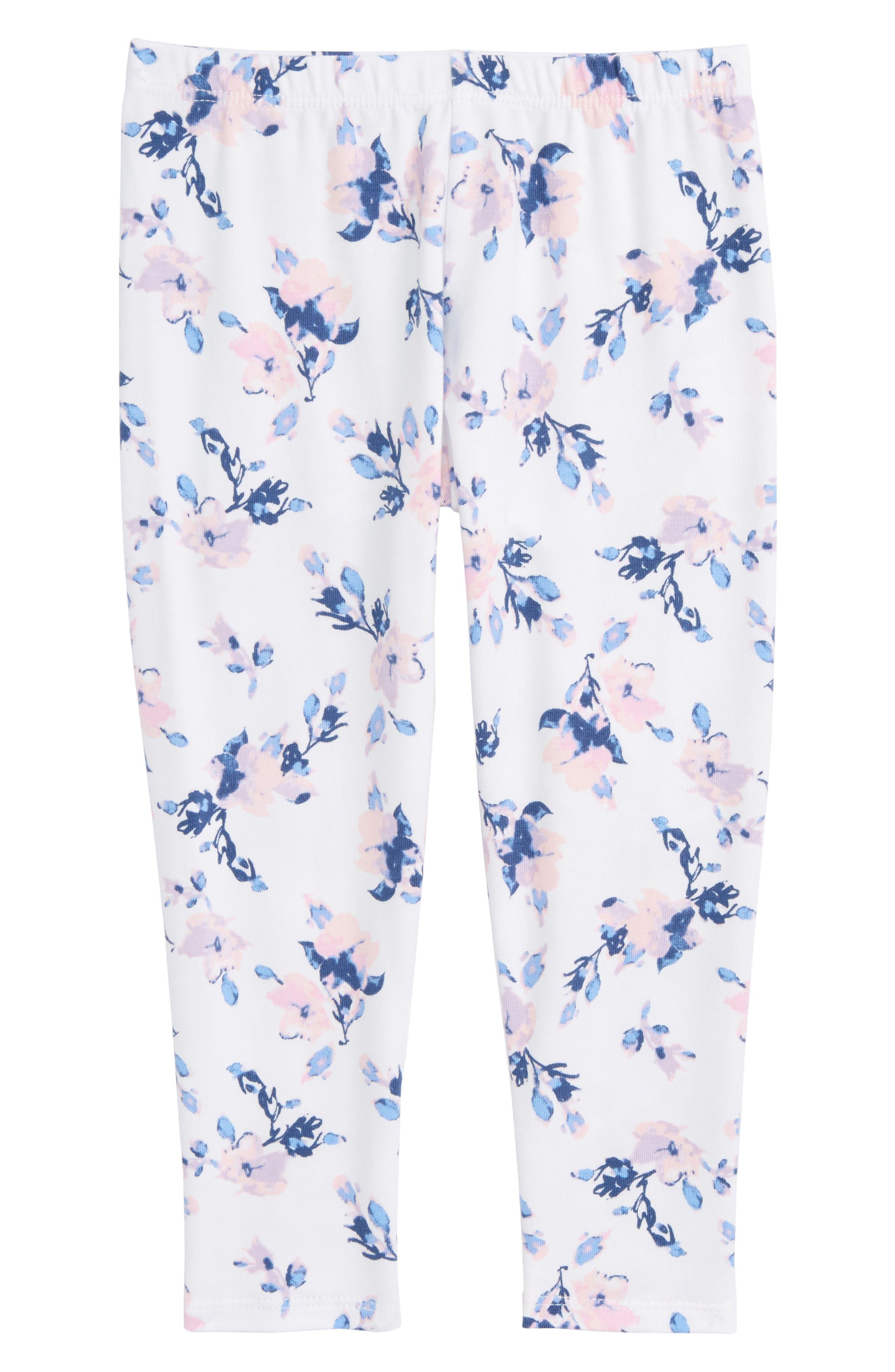 Floral Leggings,                             Main thumbnail 1, color,                             Optic White