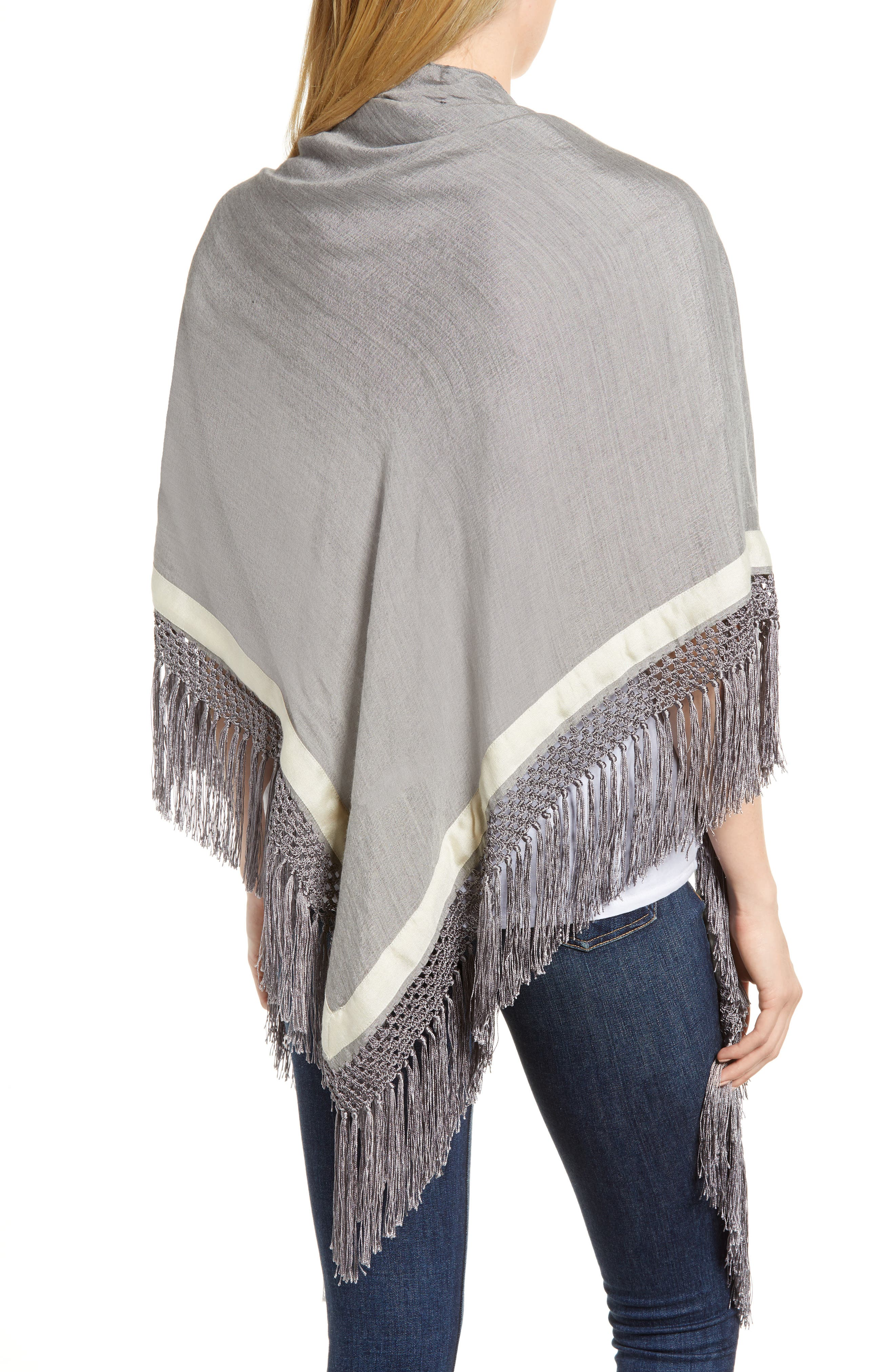 Sport Stripe Silk & Wool Poncho,                             Alternate thumbnail 2, color,                             Heather Grey