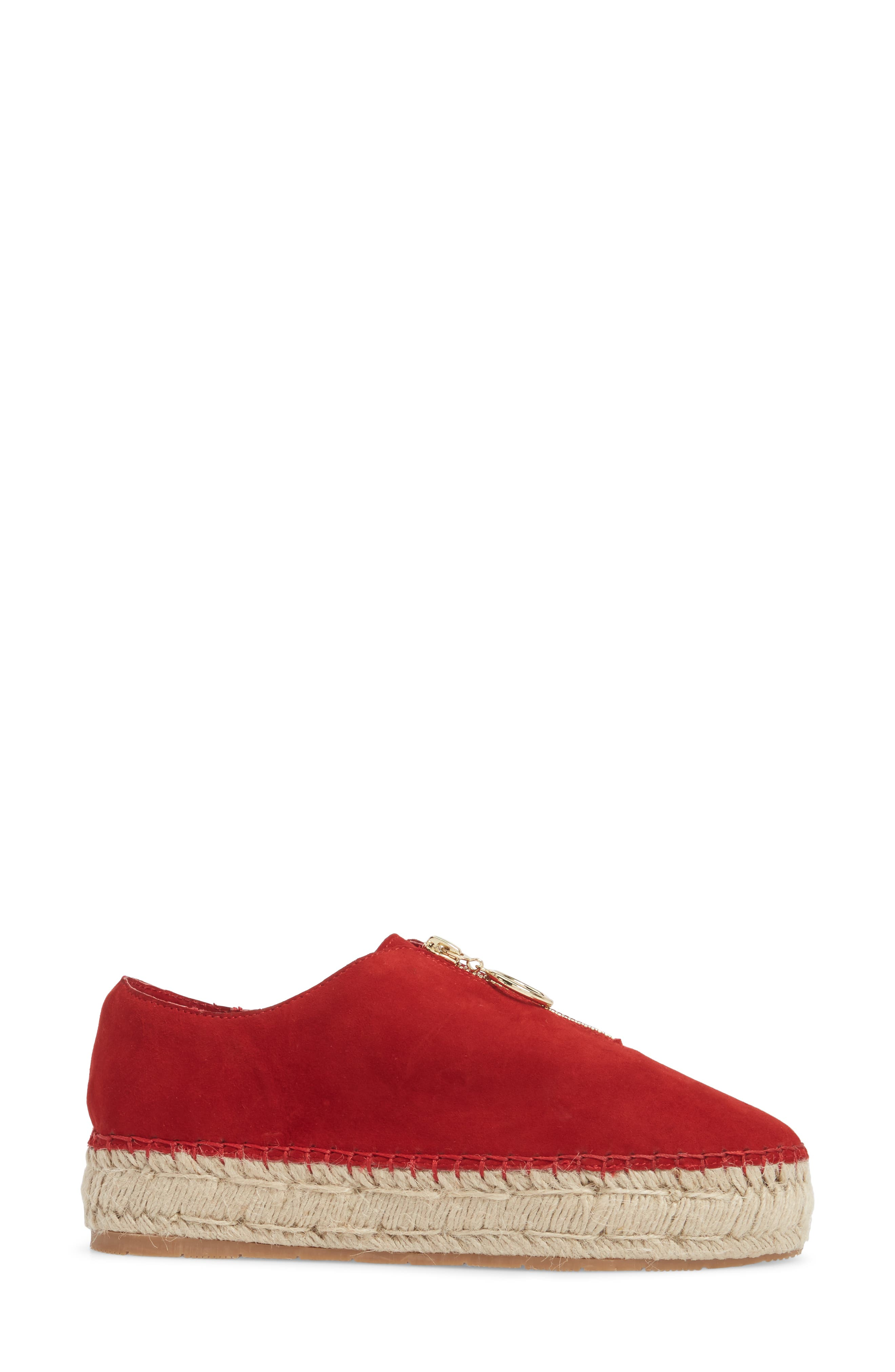 Ryan Espadrille Flat,                             Alternate thumbnail 3, color,                             Red Leather