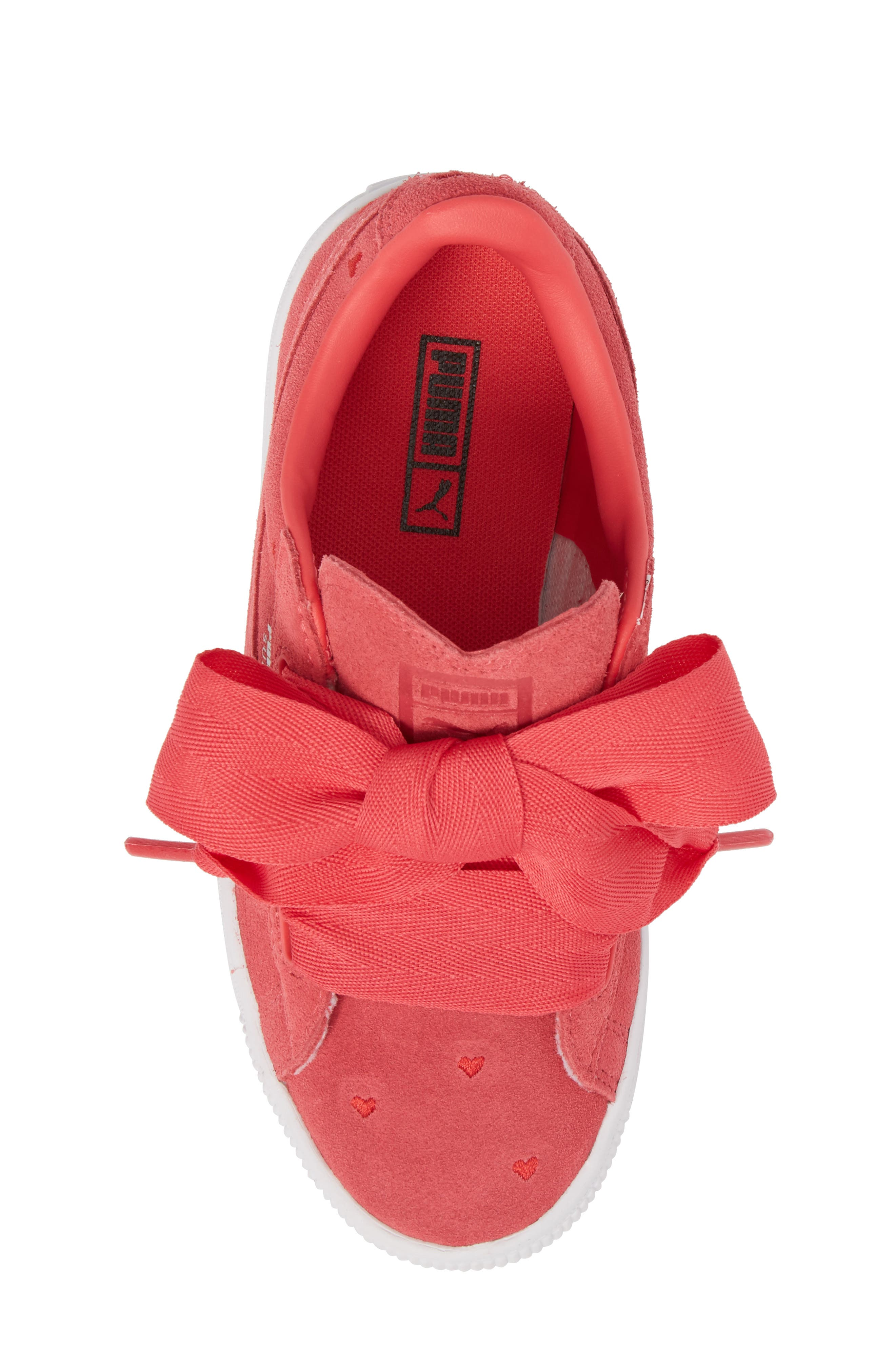 Suede Heart Valentine Sneaker,                             Alternate thumbnail 5, color,                             Paradise Pink/ Paradise Pink