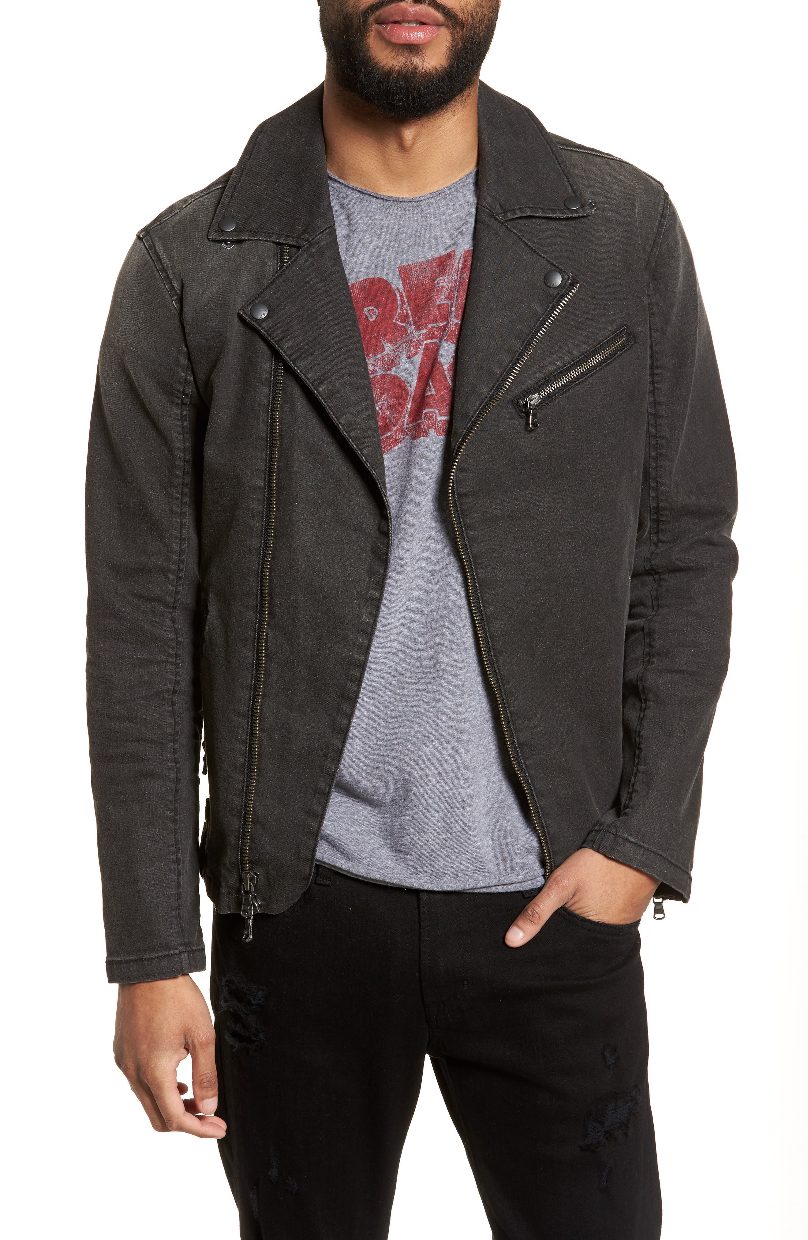 Main Image - John Varvatos Star USA Slim Fit Stretch Moto Denim Jacket