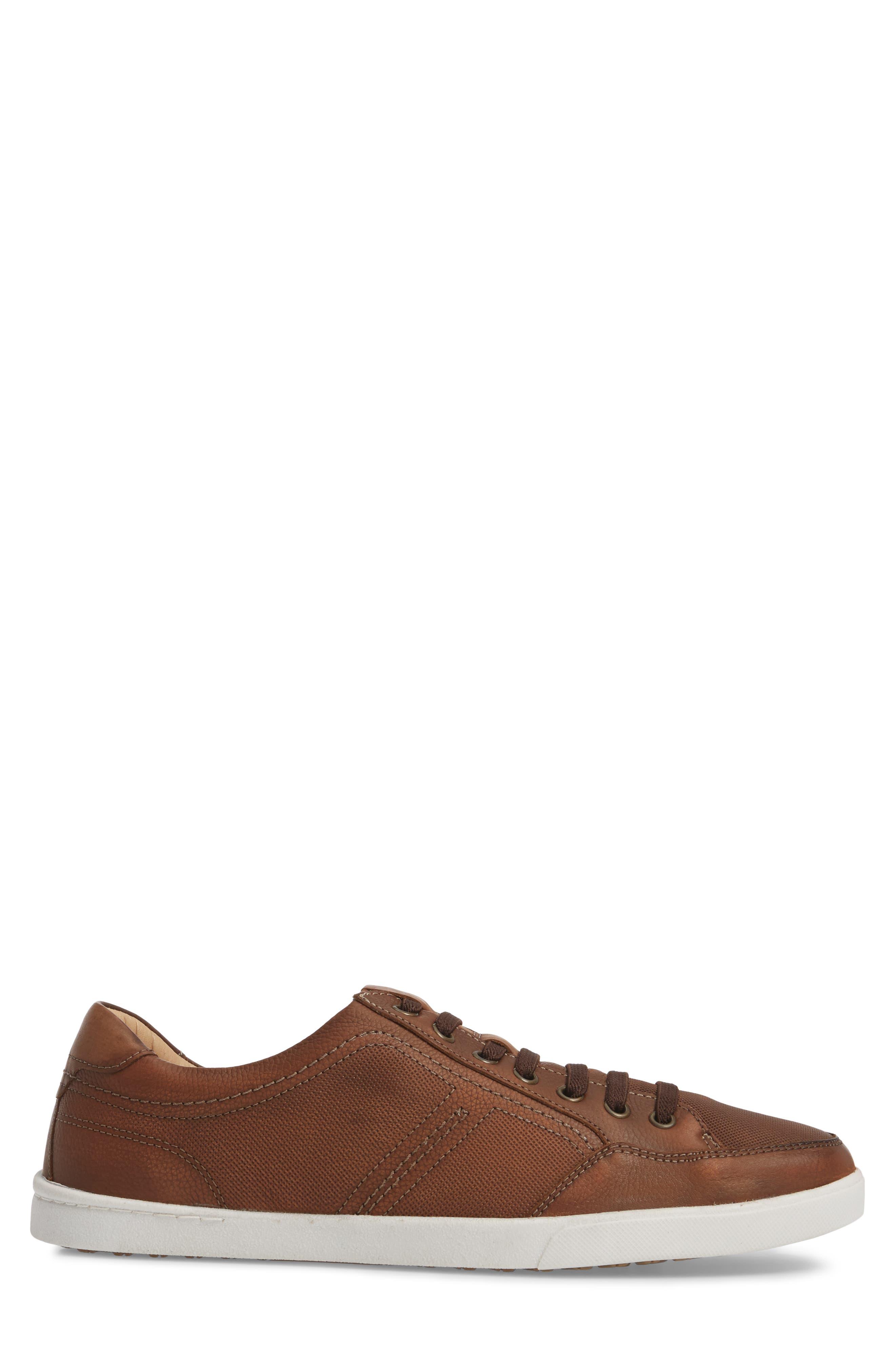 Quinton Textured Low Top Sneaker,                             Alternate thumbnail 3, color,                             Tan Leather